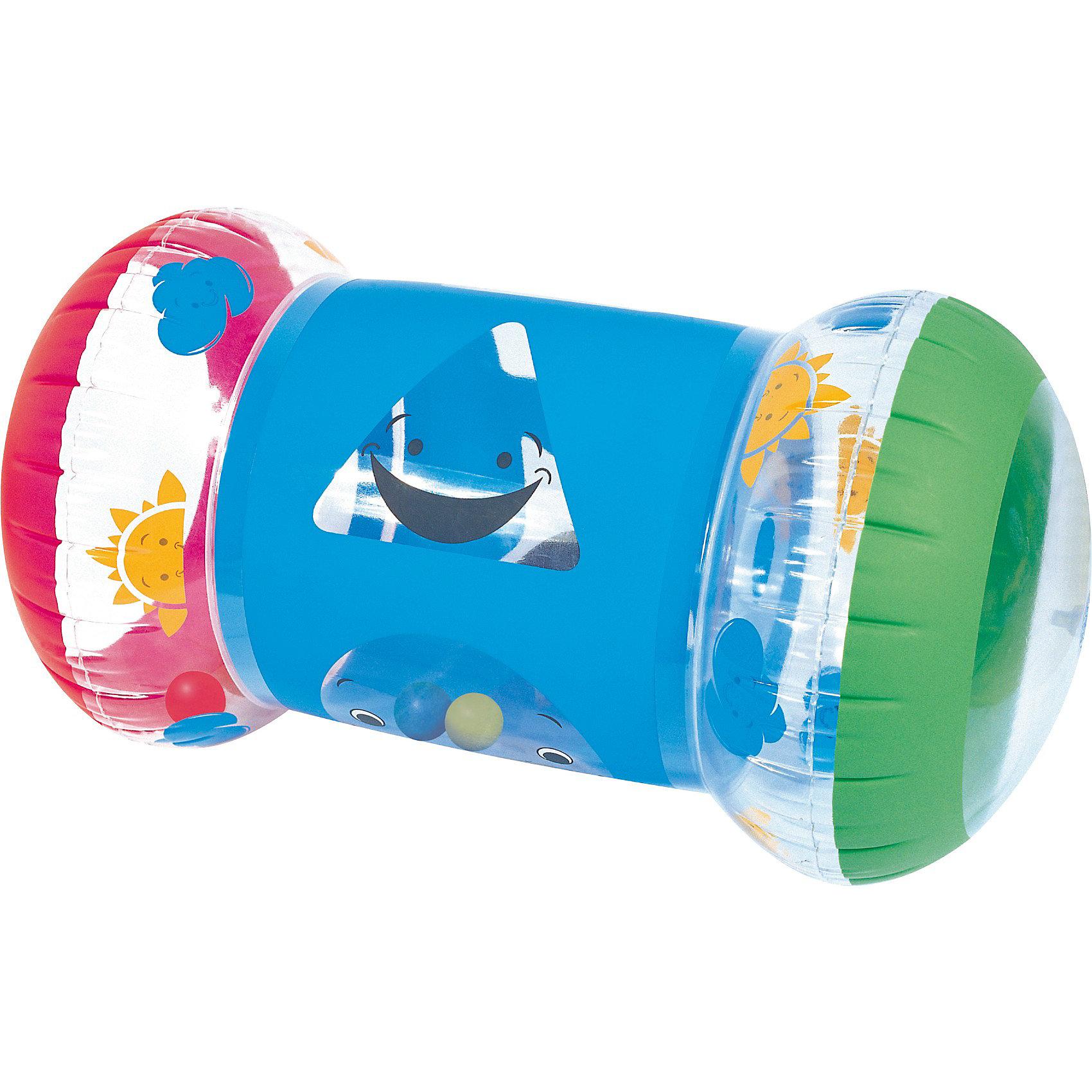 Надувной валик Первые шаги,  BestwayНадувной валик Первые шаги, Bestway (Бествей) - яркая, привлекательная для малыша игрушка, которая поможет ему быстрее научиться ходить. Ребенок катит валик вперед, опираясь на него руками во время ходьбы, игрушка служит ему опорой и поддержкой от падений. Валик выполнен из прочного материала, имеет красочный дизайн с изображением забавной улыбающейся мордочки. Во время передвижения внутри игрушки перекатываются яркие разноцветные шарики.<br><br>Дополнительная информация:<br><br>- Материал: ПВХ.<br>- Размер валика: 64 х 33 х 33 см.<br>- Размер упаковки: 23 х 24 х 5 см.<br>- Вес: 0,31 кг.<br><br>Надувной валик Первые шаги, Bestway (Бествей) можно купить в нашем интернет-магазине.<br><br>Ширина мм: 245<br>Глубина мм: 231<br>Высота мм: 55<br>Вес г: 295<br>Возраст от месяцев: 3<br>Возраст до месяцев: 36<br>Пол: Унисекс<br>Возраст: Детский<br>SKU: 3825215