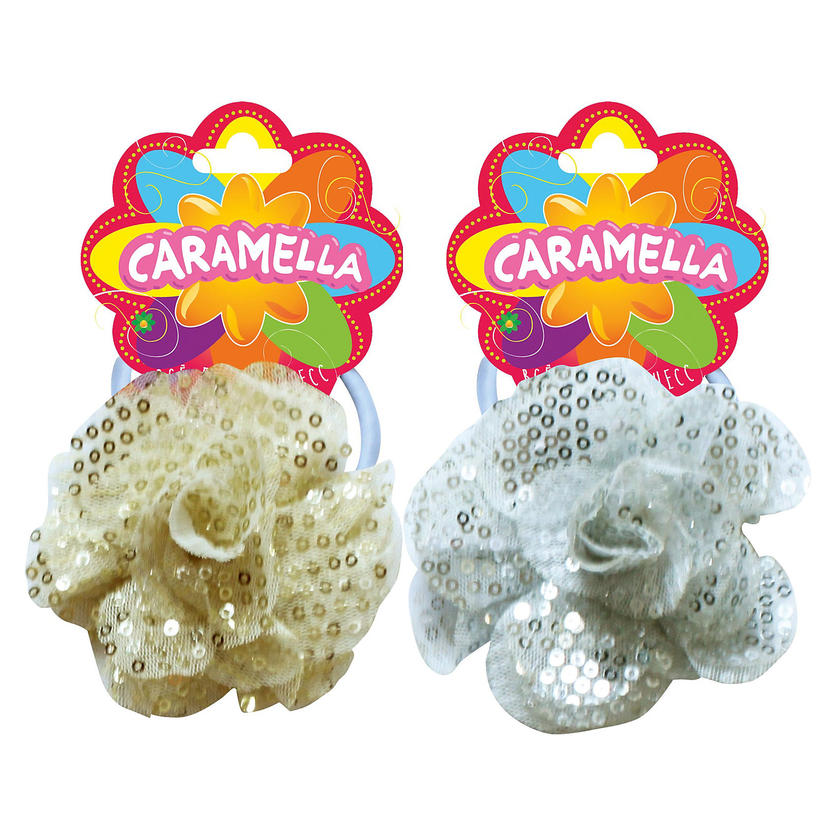 Резинка для волос, 1 шт.  CARAMELLAРезинка для волос «Caramella», украшенная цветочком и пайетками, преобразит волосы очаровательной принцессы. <br><br>В ассортименте 2 цвета: серебряный, золотой. <br><br>Товар сертифицирован.<br><br>Ширина мм: 170<br>Глубина мм: 157<br>Высота мм: 67<br>Вес г: 117<br>Возраст от месяцев: 36<br>Возраст до месяцев: 2147483647<br>Пол: Женский<br>Возраст: Детский<br>SKU: 3825784