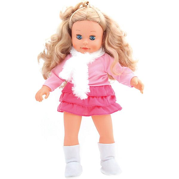 Интерактивная кукла Аленка 1000 слов, 7 игр, 45 см, КарапузИдеи подарков<br>Интерактивная кукла Аленка  – это великолепная кукла, понимающая Вашего ребёнка, реагируя на фразы. Она поет песенки, знает стихи, скороговорки, загадки и считалочки. С ней можно играть в 7 различных игр: <br>1) Алфавит. Аленка произносит все буквы алфавита с паузами, давая время ребенку повторять следом за ней. После того, как Аленка произнесет все буквы, на каждую из них она расскажет маленькое стихотворение.<br>2) Считалочка. Вместе с Аленкой девочка сможет научиться считать, а чтобы цифры лучше запомнились, кукла рассказывает куриную считалочку. <br>3) Загадки. Кукла Аленка знает 7 различных загадок, которые будет тебе загадывать. Все загадки предполагают 2 ответа: да или нет. <br>4) Скороговорки. Аленка знает 2 скороговорки: про грека и про маленьких чертят. Сначала она предложит тебе рассказать скороговорку про грека, если вы скажете нет то она прочтет скороговорку, про маленьких чертят. Каждую скороговорку Аленка произносит 2 раза. <br>5) Дочки-матери. В данной игре Аленка попросит свою маленькую маму умыть ее, почистить зубки, причесать и покормить. Длительность игры 2 минуты. <br>6) Играем в больницу. В самом начале этой игры Аленка спросит у ребенка есть у него медицинские инструменты, если ребенок скажет «нет», то она предложит воспользоваться ложечкой, карандашом и ручкой. Диалог куклы и ребенка будет зависеть от ответов ребенка. <br>7) День рождения. Аленка предложит позвать гостей, накрыть стол и задуть свечи на праздничном торте и споет песенку пусть бегут неуклюже. Если ребенок не захочет играть в перечисленные игры, Аленка предложит сначала спеть песенку, если последует ответ «нет», предложит рассказать стихи, если ребенок также ответит «нет», расскажет сказку. Перед сном попроси свою подружку Аленку рассказать сказку. Затем скажи пора спать Аленка споет колыбельную песенку и уснет, закрыв глазки (если положить на спинку). <br><br>Дополнительная информация:<br><br>- Кукла зн