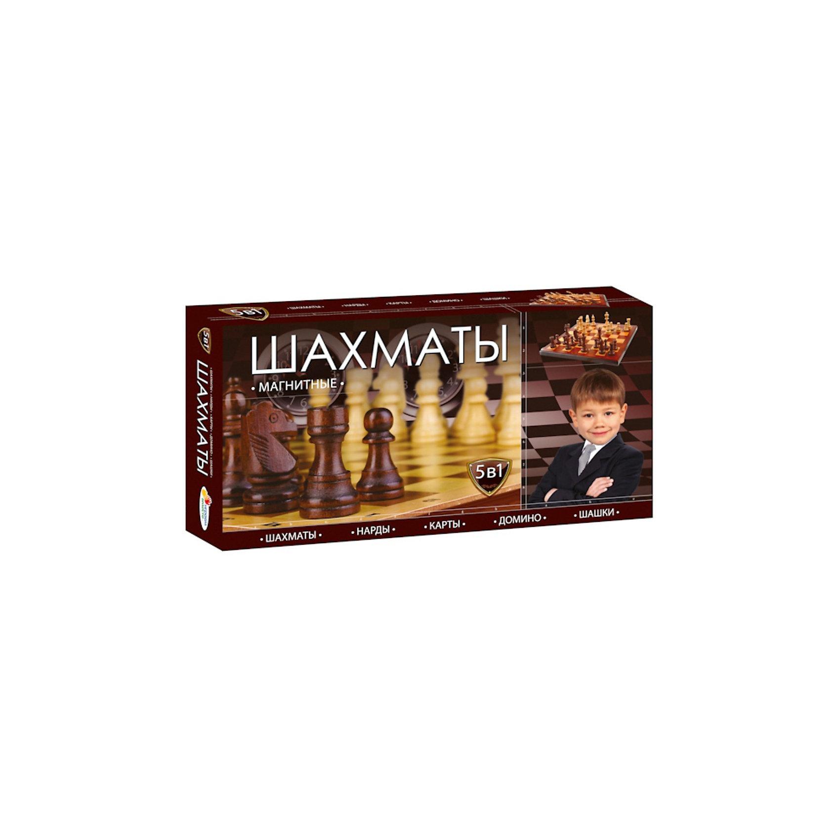 Магнитные шахматы 5-в-1: шахматы, шашки, нарды, карты, домино, Играем вместе