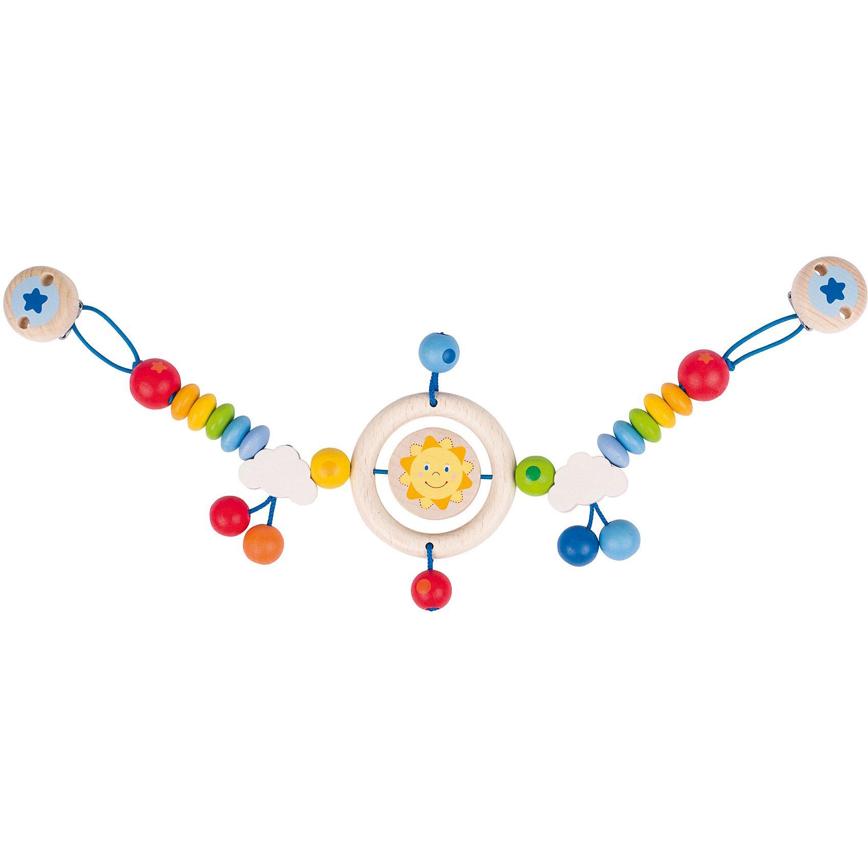 Растяжка на коляску Весёлое солнышко , HEIMESSДеревянные игрушки<br>Для изготовления высококачественных игрушек новой серии SOFT COLORS используются натуральные красители нежных пастельных тонов, приготовленные на водной основе. Окрашенные детали не покрываются затем,как обычно, прозрачным лаком. Поэтому в процессе эксплуатации игрушки на ней могут постепенно  появиться следы механического истирания, но зато под тонким  слоем красителя видна фактура древесины.Растяжка на клипсах может крепиться не только на коляску, но и на автокресло, а также прикрепляться к любым текстильным поверхностям. У игрушки есть маленький колокольчик.<br><br>Ширина мм: 287<br>Глубина мм: 241<br>Высота мм: 30<br>Вес г: 161<br>Возраст от месяцев: 0<br>Возраст до месяцев: 12<br>Пол: Унисекс<br>Возраст: Детский<br>SKU: 3830722