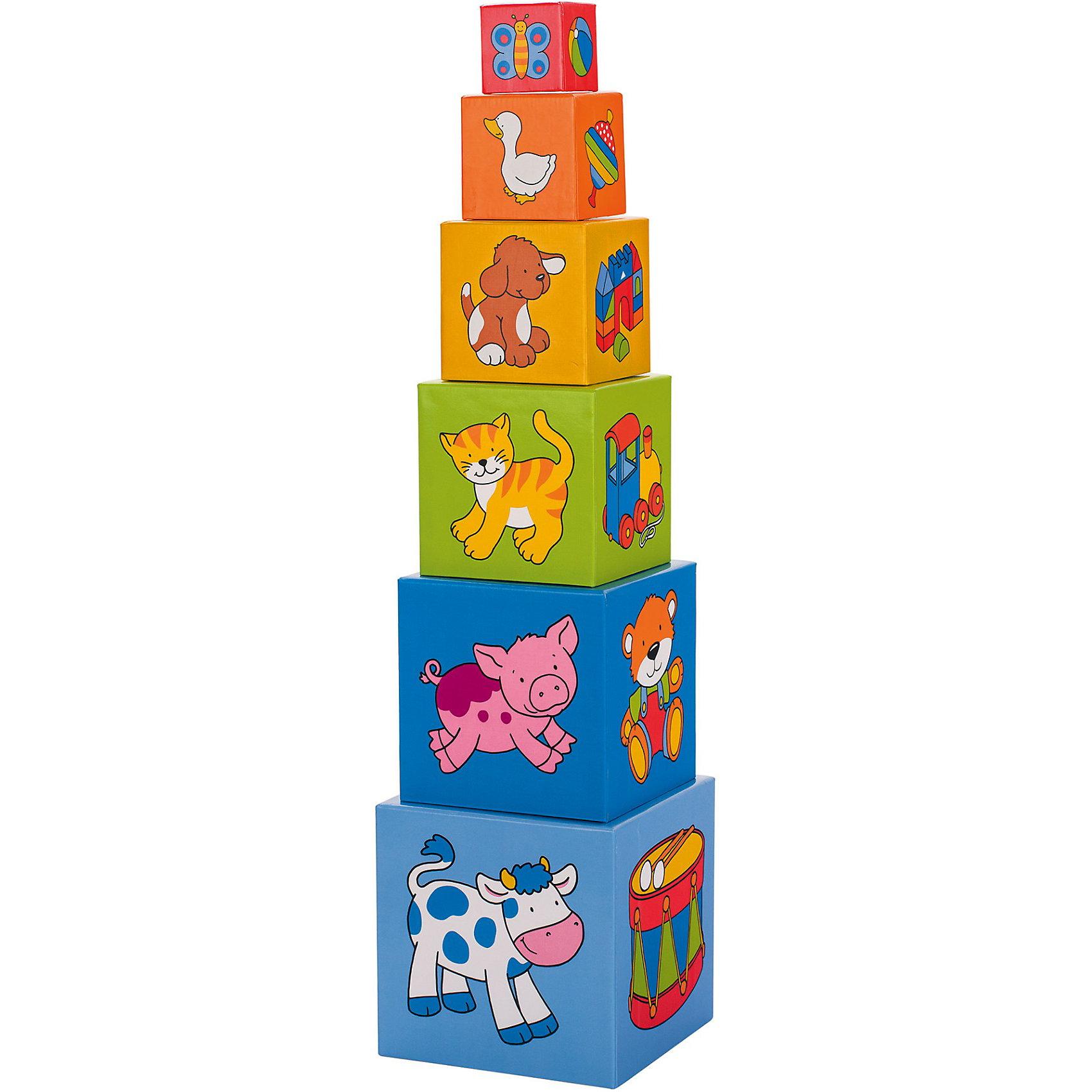 Пирамидка из кубиков, gokiМалыши обожают собирать пирамидки. Пирамидка из кубиков обязательно понравится вашему крохе. На каждом кубике нарисованы различные животные и фигуры, ребенок сможет не только строить пирамидку, но и рассматривать яркие рисунки. А когда игра окончена, кубики компактно складываются друг в друга. Игрушка изготовлена из натурального дерева, не имеет острых углов, раскрашен безопасными для детей красителями.  <br><br>Дополнительная информация:<br><br>- Материал: дерево.<br>- Комплектация: 6 кубиков. <br>- Высота: 57,5 см.<br><br>Пирамидку из кубиков, goki (Гоки) можно купить в нашем магазине.<br><br>Ширина мм: 155<br>Глубина мм: 154<br>Высота мм: 154<br>Вес г: 538<br>Возраст от месяцев: 12<br>Возраст до месяцев: 48<br>Пол: Унисекс<br>Возраст: Детский<br>SKU: 3830758