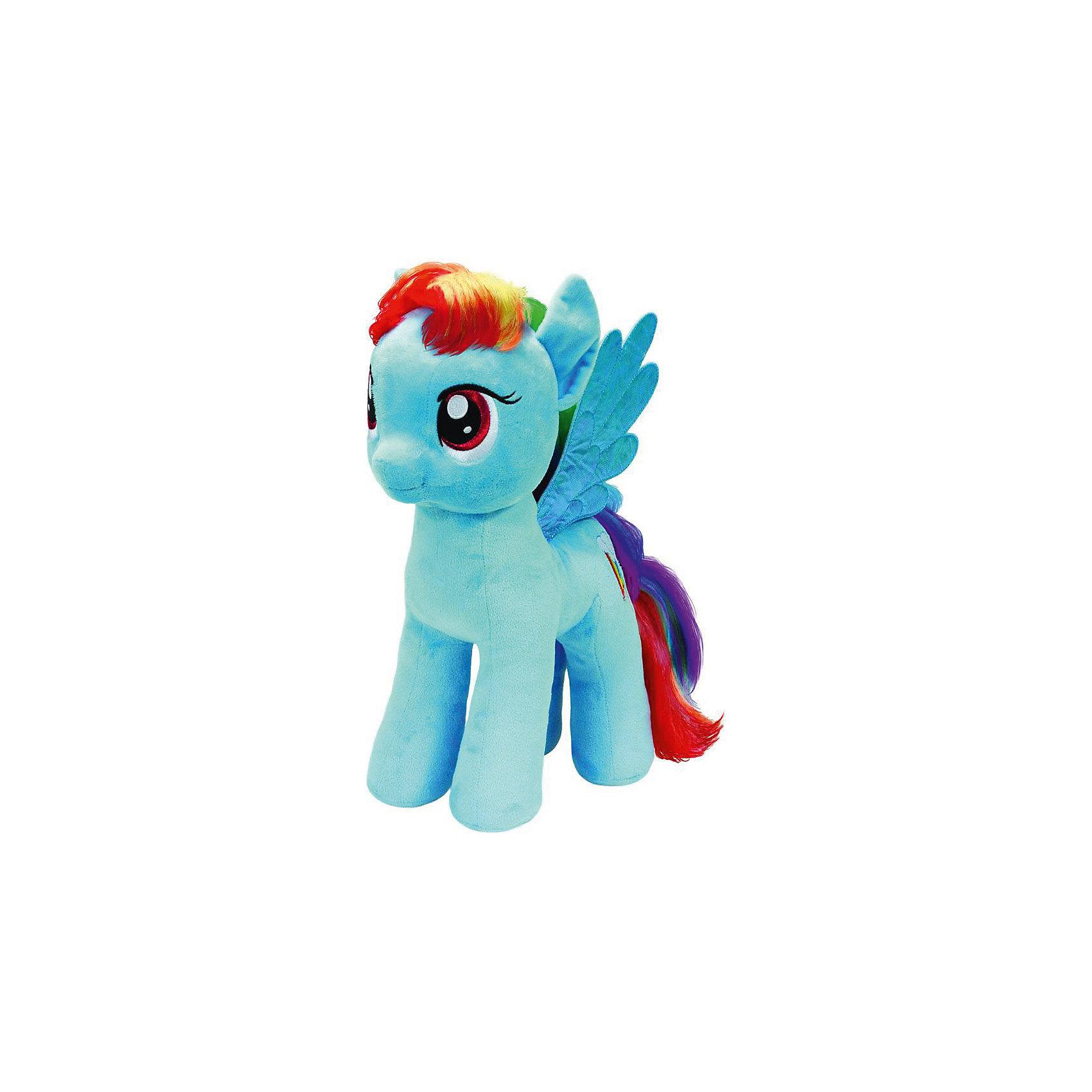 Пони Радуга Дэш, 51 см,  My little PonyМягкая игрушка Пони Радуга Дэш, My little Pony порадует всех юных поклонниц волшебных лошадок из популярного мультсериала Моя маленькая Пони: Дружба -это чудо ( My Little Pony: Friendship IsMagic). Пони Радуга Дэш (Rainbow Dash) - быстрая, ловкая и умелая лошадка-пегас с взъерошенной радужной гривой и хвостом, в Понивилле она выполняет ответственную работу: очищает небо, разгоняя облака. <br><br>Внешний вид игрушки полностью соответствует своей героине из мультфильма. У лошадки мягкая, приятная на ощупь голубая шерстка, радужные грива и хвост и голубые крылышки. Глазки и знак отличия - радуга с облаком искусно вышиты. Игрушка выполнена из качественных, безопасных для детей материалов.<br><br>Дополнительная информация:<br><br>- Материал: искусственный мех, синтепон.<br>- Размер игрушки: 51 см.<br>- Размер упаковки: 40 x 25 x 51 см.<br>- Вес: 0,3 кг.<br><br>Мягкую игрушку Пони Радуга Дэш, My little Pony (Май литл Пони) можно купить в нашем интернет-магазине.<br><br>Ширина мм: 400<br>Глубина мм: 250<br>Высота мм: 510<br>Вес г: 300<br>Возраст от месяцев: 24<br>Возраст до месяцев: 120<br>Пол: Женский<br>Возраст: Детский<br>SKU: 3833925