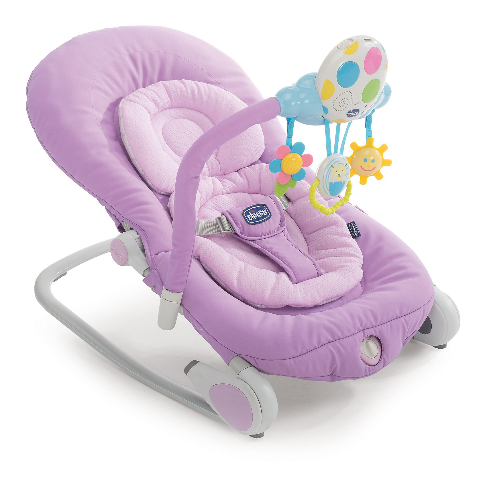 Кресло-качалка Balloon, Chicco, розовыйЛегкое и удобное кресло-качалка Balloon, Chicco (Чико) - замечательное место для игр и отдыха малыша с рождения до 9 кг. (6 месяцев). Анатомическая конструкция кресла обеспечивает малышам правильное положение. Мягкое широкое сиденье со съемной моющейся подкладкой создает ребенку оптимальный комфорт. Спинка сиденья регулируется в четырех положениях, вплоть до горизонтального. Подголовник регулируется в 3 позициях по высоте ребенка. Кресло можно легко зафиксировать в статичном положении, либо трансформировать его в кресло-качалку, убрав ножки. Устройство легкой вибрации поможет малышу расслабиться. Ребенок надежно удерживается в кресле при помощи мягкого трехточечного ремня безопасности. <br><br>Для развлечения малыша в комплекте предусмотрен съемный электронный модуль с тремя подвесными забавными игрушками, которые будут способствовать двигательной активности, тактильному и сенсорному развитию. При нажатии на кнопочки модуля, загораются цветные<br>огоньки и звучат приятные мелодии и звуки природы (6 мелодий и 6 звуков природы). Также можно записать свое сообщение протяженностью 30 секунд, чтобы ребенок слышал Ваш голос. Модуль легко крепится к детской кроватки с помощью ремешка и поможет успокоить малыша перед сном. Кресло-качалка быстро складывается с помощью двух специальных кнопок и не занимает много места при хранении. Имеются две прочные тканевые ручки для переноски. Чехол из ткани легко снимется и стирается при комнатной температуре. Максимальный вес ребенка - 9  кг.<br><br>Дополнительная информация:<br><br>- Цвет: lilla (сиреневый).<br>- Материал: текстиль, пластик, металл.<br>- Возраст: 0-6 мес.<br>- Требуются батарейки: 2 х AA, 1 x LR20 1,5V (не входят в комплект).<br>- Размер в разложенном виде: 78 х 43 х 32/62 см.<br>- Размер в сложенном виде: 80 х 17 х 43 см.<br>- Вес: 4,5 кг.<br><br>Кресло-качалку Balloon, Chicco (Чико), можно купить в нашем интернет-магазине.<br><br>Ширина мм: 800<br>Глубина мм: 510<br>Высота мм: 1