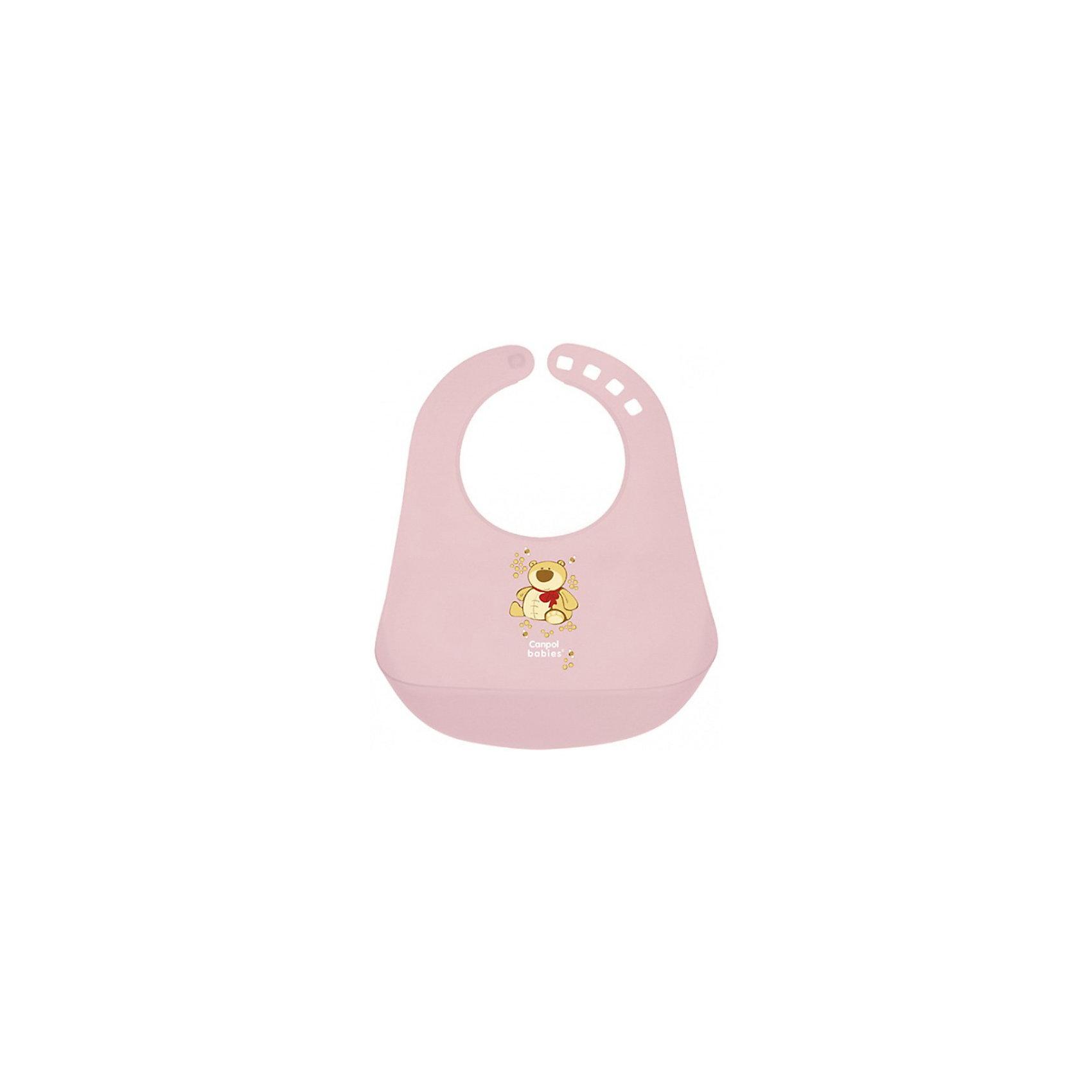 Пластиковый нагрудник, Canpol Babies, розовыйПластиковый нагрудник Canpol Babies сделает прием пиши Вашего ребенка не только более чистым, но и станет хорошим другом Вашей крохи!<br>Пластиковый нагрудник с большим карманом для остатков пищи предназначен для детей старше 12 месяцев. Помогает защитить одежду ребенка от загрязнения. Его легко содержать в чистоте. После каждого использования мойте нагрудник в теплой мыльной воде.<br>Мягкая горловина нагрудника не поцарапает нежную шею Вашего ребенка, а замочек поможет легко и быстро закрепить нагрудник в нужном положении.<br>Благодаря пластиковому нагруднику Canpol Babies одежда малыша останется чистой после еды!<br>Пластиковый нагрудник Canpol Babies можно купить в нашем интернет-магазине.<br><br>Ширина мм: 230<br>Глубина мм: 400<br>Высота мм: 55<br>Вес г: 200<br>Возраст от месяцев: 12<br>Возраст до месяцев: 36<br>Пол: Женский<br>Возраст: Детский<br>SKU: 3837143
