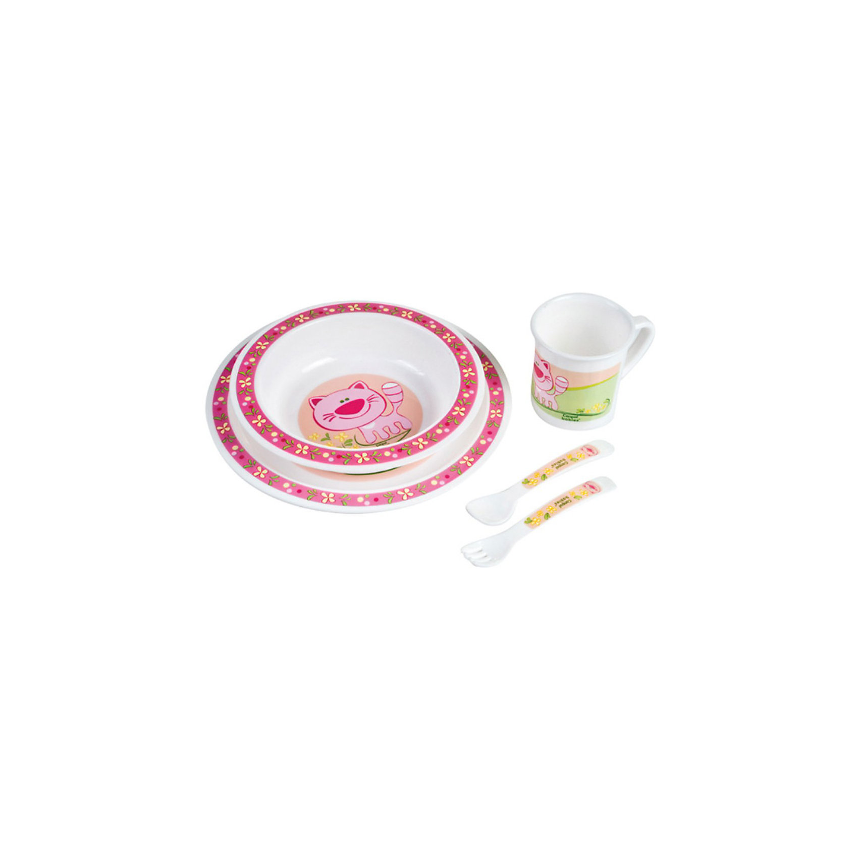 Набор посуды, Canpol, розовыйНабор посуды, Canpol Babies замечательно подходит для малышей, которые начинают есть самостоятельно. Посуду можно использовать как дома, так и для пикников и обедов на открытом воздухе. В состав набора входят миска, тарелка, чашка, ложка и вилка. Все предметы имеют безопасные закругленные края и украшены забавными изображениями зверушек.<br>Эта практичная посуда подходит для СВЧ-печи, ее можно мыть в посудомоечной машине.<br>Дополнительная информация:<br>- в комплекте: миска, тарелка, чашка, ложка и вилка;<br>- материал: пластик;<br>- объем миски: 270 мл.;<br>- объем чашки: 170 мл.;<br>- размер упаковки: 22 х 22 х 7,5 см.;<br>- вес: 0,3 кг.<br>Набор посуды Canpol Babies можно купить в нашем интернет-магазине.<br><br>Ширина мм: 220<br>Глубина мм: 220<br>Высота мм: 75<br>Вес г: 234<br>Возраст от месяцев: 9<br>Возраст до месяцев: 36<br>Пол: Женский<br>Возраст: Детский<br>SKU: 3837145