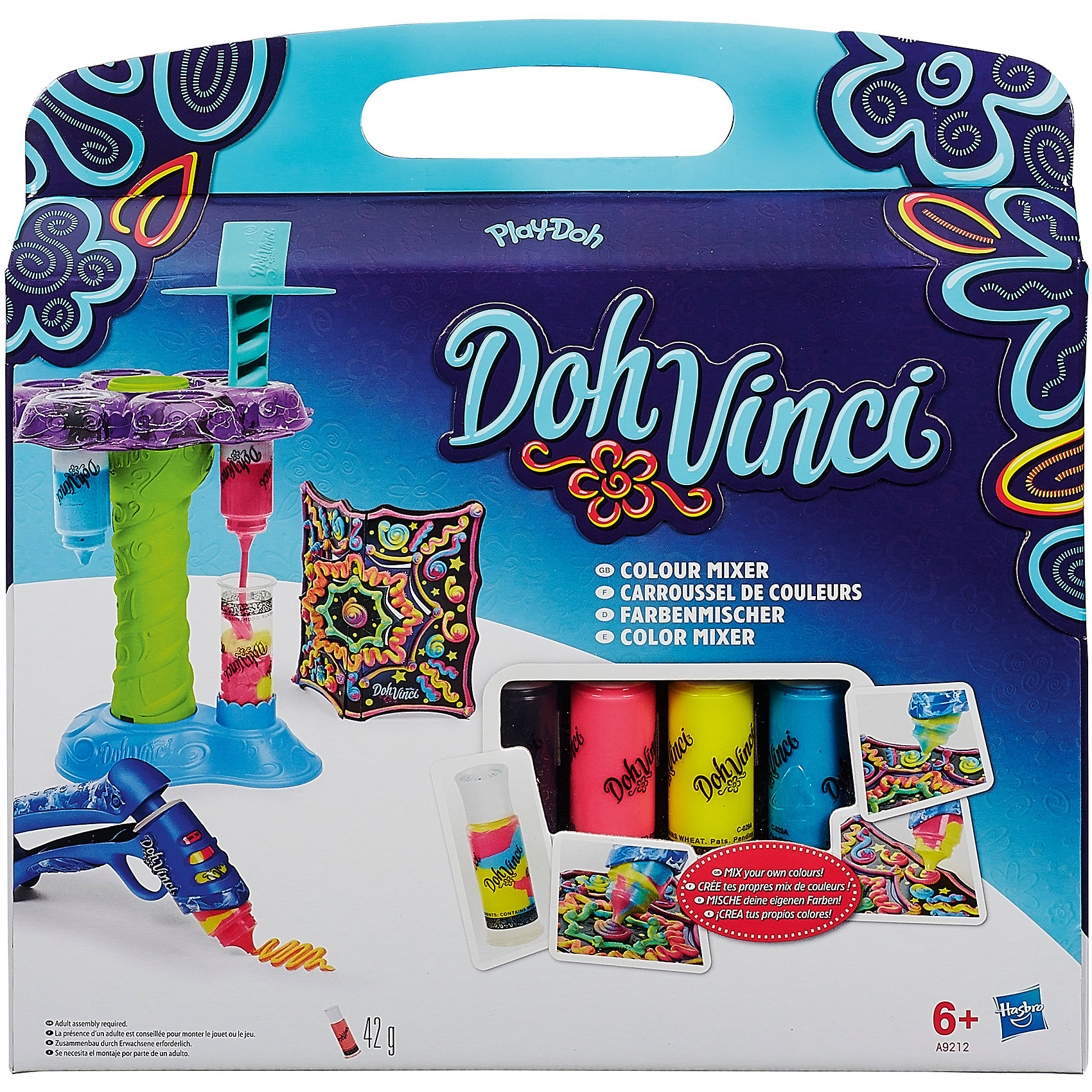 Микшер цветов, DohVinciЛепка<br>Микшер цветов, DohVinci (До-Винчи) порадует всех юных любителей лепки и поможет им реализовать свои творческие фантазии. Используя входящий в набор микшер Ваш ребенок сможет легко смешивать различные цвета пластилина, каждый раз получая новый насыщенный яркий оттенок. Поместите пустой картридж DohVicni в микшер и нажмите на пресс, чтобы выдавить нужный цвет. Затем прокрутите палитру с разными цветами пластилина и выберите следующий цвет, который Вы хотите смешать с предыдущим. За один раз можно смешать любое количество цветов. <br><br>Заполнив специальный пистолет полученным при смешении пластилином, нажмите на курок и выдавите пластилин на поверхность - у Вас получится яркий оригинальный узор.<br>Пластилин До-Винчи быстро застывает, хорошо сохраняя заданную форму, полностью безопасен для детей. Набор развивает у ребенка восприятие цвета и формы, фантазию и творческие навыки. <br><br>Дополнительная информация:<br><br>- В комплекте: подставка для декорирования, микшер, картриджи с пластилином (3 шт.), пустой картридж, пистолет, инструкция.<br>- Материал: пластилин, пластмасса.<br>- Размер упаковки: 6,4 x 30,5 x 30,5 см.<br>- Вес: 0,794 кг.<br><br>Микшер цветов, DohVinci Play-Doh (Плей-До) можно купить в нашем интернет-магазине.<br><br>Ширина мм: 303<br>Глубина мм: 309<br>Высота мм: 68<br>Вес г: 501<br>Возраст от месяцев: 72<br>Возраст до месяцев: 120<br>Пол: Женский<br>Возраст: Детский<br>SKU: 3838322