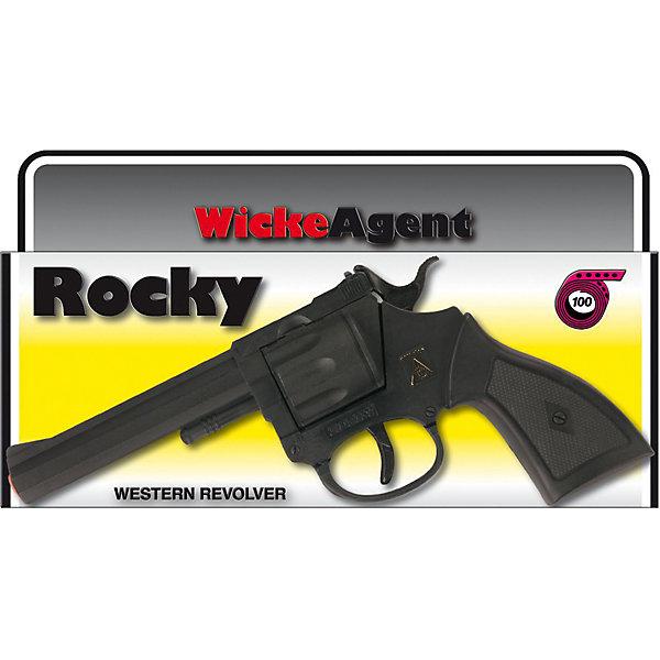 Пистолет Rocky, 100-зарядный,  Sohni-WickeИгрушечное оружие<br>Пистолет Rocky, 100-зарядный,  Sohni-Wicke (Сони-Вике) – это отлично детализированный пистолет игрушка.<br>Пистолет Rocky создан для оперативной работы современного полицейского! Этот игрушечный самовзводный револьвер станет грозой местных негодяев и бандитов. Помогите вашему ребенку стать героем-полицейским! Игрушечное оружие Sohni-Wicke (Сони-Вике) — это лучшие детские пистонные винтовки и пистолеты для мальчиков. Игрушка сделана из качественного и нетоксичного пластика и не оказывает отрицательного влияния на здоровье ребенка. Используйте игрушку на достаточном расстоянии от лица и ушей. Стрельба из пистонных пистолетов на близком расстоянии к ушам может привести к повреждению слуха. Не стреляйте в помещении.<br><br>Дополнительная информация:<br><br>- Ёмкость магазина: 100 зарядов<br>- Материал: пластик<br>- Размер пистолета: 19,2 см.<br>- Пистоны приобретаются отдельно<br>- Внимание: мелкие детали! Игрушка не подходит для детей младше 3 лет<br>- Заранее внимательно изучите инструкцию по безопасному обращению с игрушкой<br><br>Пистолет Rocky, 100-зарядный,  Sohni-Wicke (Сони-Вике) можно купить в нашем интернет-магазине.<br><br>Ширина мм: 120<br>Глубина мм: 215<br>Высота мм: 28<br>Вес г: 150<br>Возраст от месяцев: 96<br>Возраст до месяцев: 168<br>Пол: Мужской<br>Возраст: Детский<br>SKU: 3838997