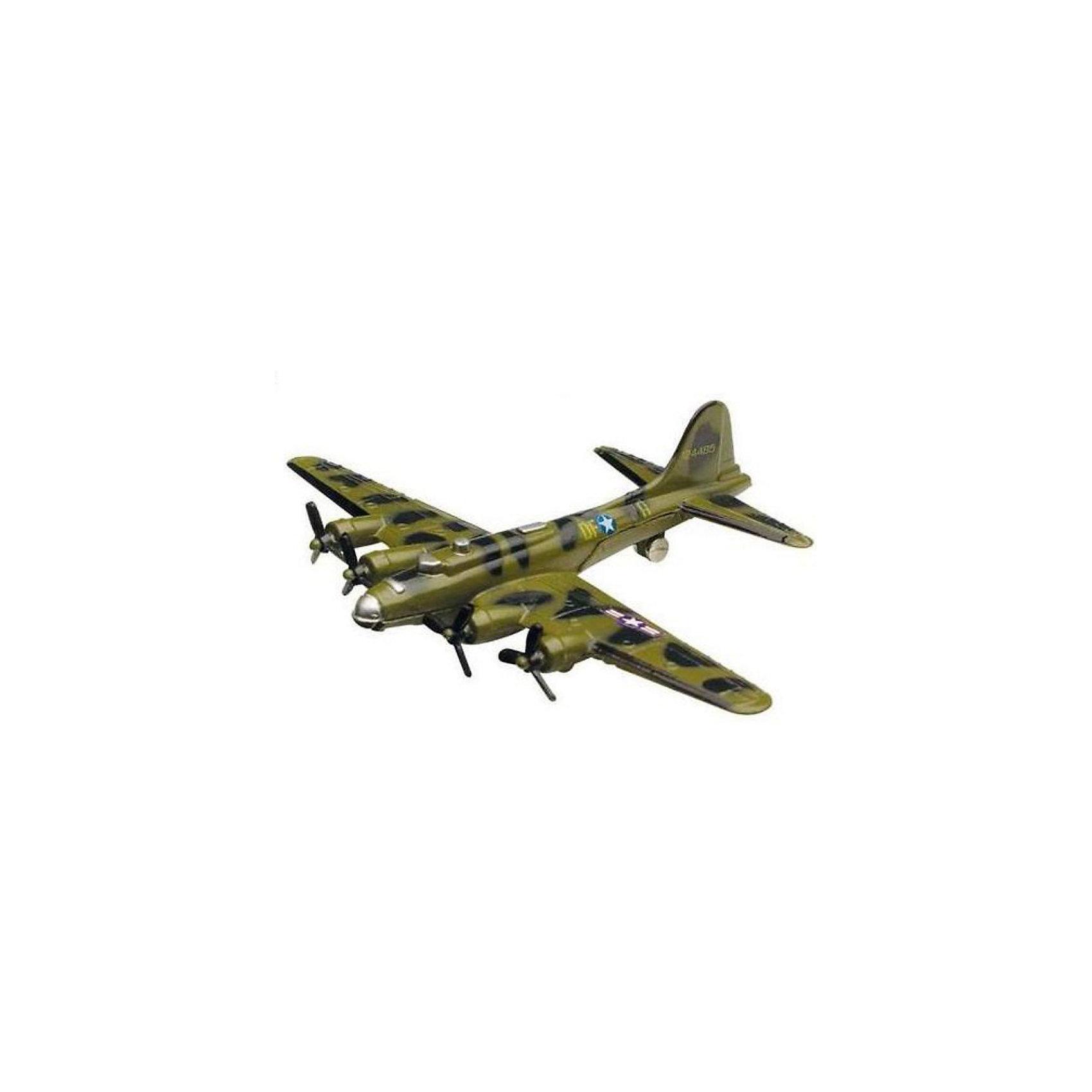 """Cамолет Boeing B-17,  MotormaxВоенный транспорт<br>Cамолет Boeing B-17,  Motormax (Мотормакс) – это отличное пополнение коллекции авиационной техники.<br>Коллекционная игрушка самолет Boeing B-17 Flying Fortress от компании Motormax (Мотормакс) в точности повторяет контуры американского тяжелого бомбардировщика, чем вызовет неподдельный интерес, как у ребенка, так и взрослого коллекционера. Этот самолет, прозванный """"Летающей крепостью"""", стал первым серийным цельнометаллическим бомбардировщиком ВВС США. В СССР самолет не поставлялся, однако к концу войны советские летчики использовали около 20 таких самолетов. Модель максимально приближена к своему прототипу. По сути это уменьшенная копия настоящего самолета, сохранившая его пропорции и узнаваемые элементы. Стоит также отметить хорошую для таких размеров детализацию. Модель самолета изготовлена из прочного и качественного пластика, поэтому может использоваться и для обычной игры.<br><br>Дополнительная информация:<br><br>- Длина самолета: 9 см.<br>- Материал: пластик<br><br>Cамолет Boeing B-17,  Motormax (Мотормакс) можно купить в нашем интернет-магазине.<br><br>Ширина мм: 127<br>Глубина мм: 30<br>Высота мм: 178<br>Вес г: 80<br>Возраст от месяцев: 36<br>Возраст до месяцев: 168<br>Пол: Мужской<br>Возраст: Детский<br>SKU: 3839000"""