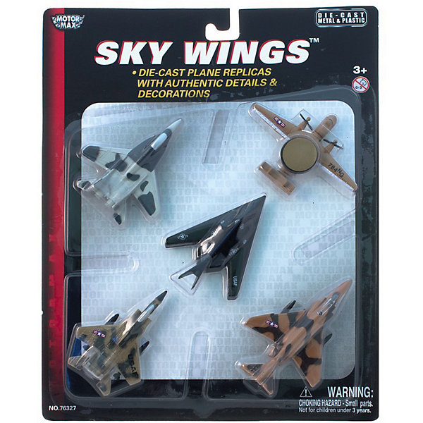 Самолетики Второй набор,  MotormaxВоенный транспорт<br>Самолетики Второй набор,  Motormax (Мотормакс) – это отличное пополнение коллекции авиационной техники.<br>Набор коллекционных самолетиков Motormax (Мотормакс). Набор состоит из пяти моделей. В данный набор входят следующие модели самолетов: Northrop Grumman E-2A HawkeyeTM (Нортроп Грумман E-2А «Хокай» ТМ), Boeing F-4 Phantom IITM (Боинг F-4 Фантом IITM), Boeing F-15 EagleTM (Боинг F-15 Игл TM), MIG 29 (Миг29), Lockheed Martin F-117A Nighthawk (Локхид F-117А Найт Хок). Каждая из них выполнена из металла. Модели тончайше проработаны, максимально приближены к своему прототипу. По сути это уменьшенные копии настоящих самолетов, сохранившие их пропорции и узнаваемые элементы. Стоит также отметить хорошую для таких размеров детализацию.<br><br>Дополнительная информация:<br><br>- В наборе: пять моделей<br>- Средняя длина самолета: 9 см.<br>- Материал: металл<br><br>Самолетики Второй набор,  Motormax (Мотормакс) можно купить в нашем интернет-магазине.<br><br>Ширина мм: 235<br>Глубина мм: 25<br>Высота мм: 286<br>Вес г: 350<br>Возраст от месяцев: 36<br>Возраст до месяцев: 168<br>Пол: Мужской<br>Возраст: Детский<br>SKU: 3839011