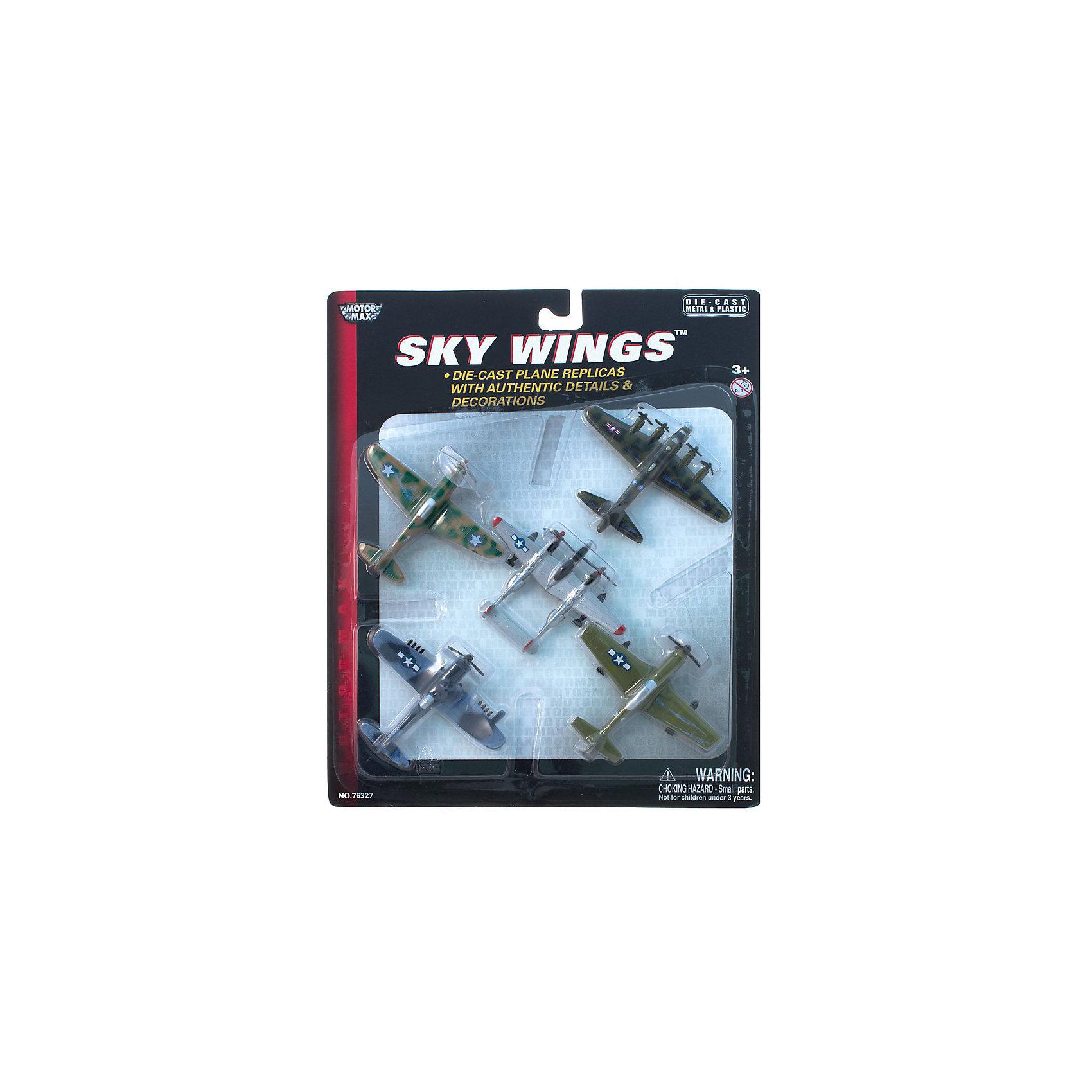 Самолетики Четвёртый набор,  MotormaxСамолетики Четвёртый набор,  Motormax (Мотормакс) – это отличное пополнение коллекции авиационной техники.<br>Набор коллекционных самолетиков Motormax (Мотормакс). Набор состоит из пяти моделей. В данный набор входят следующие модели самолетов времен Второй Мировой войны: Boeing P-51 Mustang (Боинг Р-51 Мустанг), Lockheed Martin P-38 Lightning (Локхид Мартин P-38 Лайтнинг), Northrop Grumman F4U-1D Corsair (Нортроп Грумман F4U-1D Корсар), P-40 Tomahawk (P-40 Томагавк), Boeing B-17 Flying Fortress (Боинг В-17 Летающая крепость). Каждая из них выполнена из металла. Модели тончайше проработаны, максимально приближены к своему прототипу. По сути это уменьшенные копии настоящих самолетов, сохранившие их пропорции и узнаваемые элементы. Стоит также отметить хорошую для таких размеров детализацию.<br><br>Дополнительная информация:<br><br>- В наборе: пять моделей<br>- Средняя длина самолета: 9 см.<br>- Материал: металл<br><br>Самолетики Четвёртый набор,  Motormax (Мотормакс) можно купить в нашем интернет-магазине.<br><br>Ширина мм: 235<br>Глубина мм: 25<br>Высота мм: 286<br>Вес г: 350<br>Возраст от месяцев: 36<br>Возраст до месяцев: 168<br>Пол: Мужской<br>Возраст: Детский<br>SKU: 3839013
