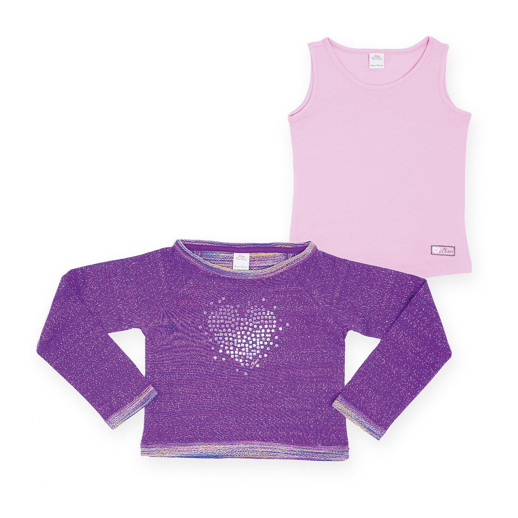 Комплект для девочки: футболка с длинным рукавом и топ s.OliverКомплект для девочки: футболка с длинным рукавом и топ s.Oliver. Состав: 100% хлопок<br><br>Ширина мм: 190<br>Глубина мм: 74<br>Высота мм: 229<br>Вес г: 236<br>Цвет: фиолетовый<br>Возраст от месяцев: 60<br>Возраст до месяцев: 84<br>Пол: Женский<br>Возраст: Детский<br>Размер: 116/122,92/98,128/134,104/110<br>SKU: 3841059
