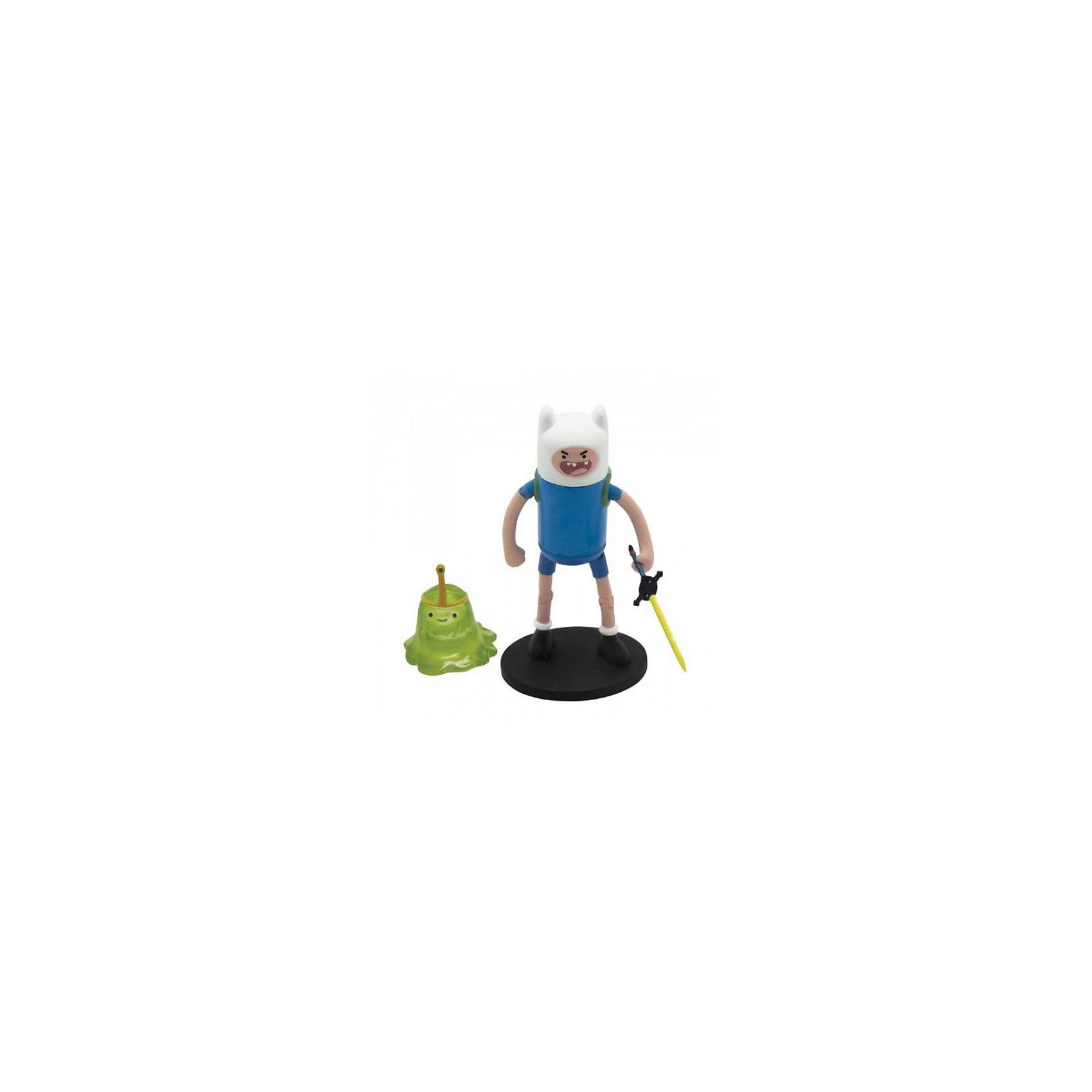 Фигурки Финн и Принцесса Слизь 2в1, 6см, Время приключенийФигурки Финн и Принцесса Слизь, 2 в 1, Adventure Time - забавные игрушки, созданные по мотивам американского мультсериала Adventure Time (Время приключений), повествующего о необыкновенных и веселых приключениях мальчика Финна и его волшебной собаки Джейка. Набор станет приятным сюрпризом для всех поклонников этого мультсериала. В комплекте две фигурки: мальчика Финн и принцессы Слизь. Фигурка Финна выполнена из эластичного материала и может принимать  различные положения, руки и ноги подвижны, тело поворачивается. В набор также входит меч, с помощью которого Финн борется со злодеями.<br><br>Дополнительная информация:<br><br>- В комплекте: 2 фигурки, меч.<br>- Материал: пластик.<br>- Размер фигурки Финна: 6 см.<br>- Размер фигурки Принцесса Слизь: 3 см.<br>- Размер упаковки: 20 х 15 х 5 см.<br>- Вес: 0,35 кг.<br><br>Фигурки Финн и Принцесса Слизь, 2 в 1, Adventure Time можно купить в нашем интернет-магазине.<br><br>Ширина мм: 55<br>Глубина мм: 150<br>Высота мм: 180<br>Вес г: 350<br>Возраст от месяцев: 48<br>Возраст до месяцев: 192<br>Пол: Унисекс<br>Возраст: Детский<br>SKU: 3841371