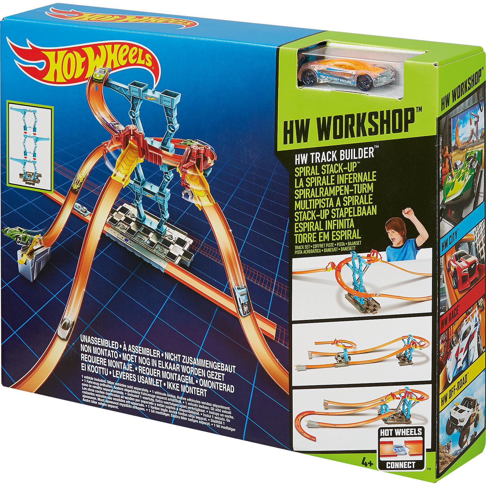 Mattel, Игровой набор со спиралью из серии track builder, hot wheels