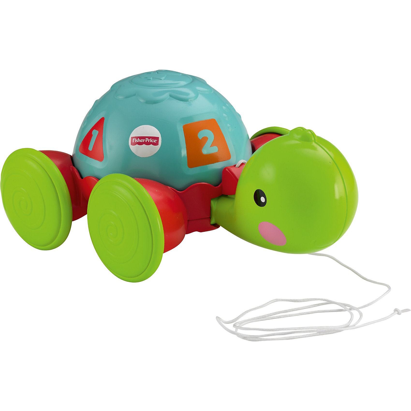 Каталка Обучающая черепашка на колесиках, Fisher-PriceИгрушки-каталки<br>Каталка Обучающая черепашка на колесиках, Fisher-Price - красочная развивающая игрушка, которая обязательно привлечет внимание Вашего малыша. Игрушка из прочного пластика ярких цветов выполнена в виде симпатичной черепашки на колесиках. У забавной черепашки имеется свободно вращающийся панцирь, оформленный четырьмя геометрическими фигурами разных цветов, в центре которых находится цифры от 1 до 4. Выпуклые детали корпуса помогут малышу научиться различать разные цвета, формы и цифры.<br><br>Также он может катать черепашку по полу, потянув ее за текстильный шнурок, во время движения черепашка забавно кивает головой. Игрушка замечательно подойдет для игры как дома, так и на улице. Каталка-черепашка развивает пространственное мышление, цветовое восприятие, тактильные ощущения, ловкость и координацию движений. <br><br>Дополнительная информация:<br><br>- Материал: пластик, текстиль.<br>- Размер игрушки: 21 х 15 х 10 см.<br>- Размер упаковки: 25,5 х 12,5 х 20,5 см.<br>- Вес: 0,64 кг.<br><br>Каталку Обучающая черепашка на колесиках, Fisher-Price (Фишер-Прайс) можно купить в нашем интернет-магазине.<br><br>Ширина мм: 210<br>Глубина мм: 255<br>Высота мм: 260<br>Вес г: 523<br>Возраст от месяцев: 12<br>Возраст до месяцев: 36<br>Пол: Унисекс<br>Возраст: Детский<br>SKU: 3847365