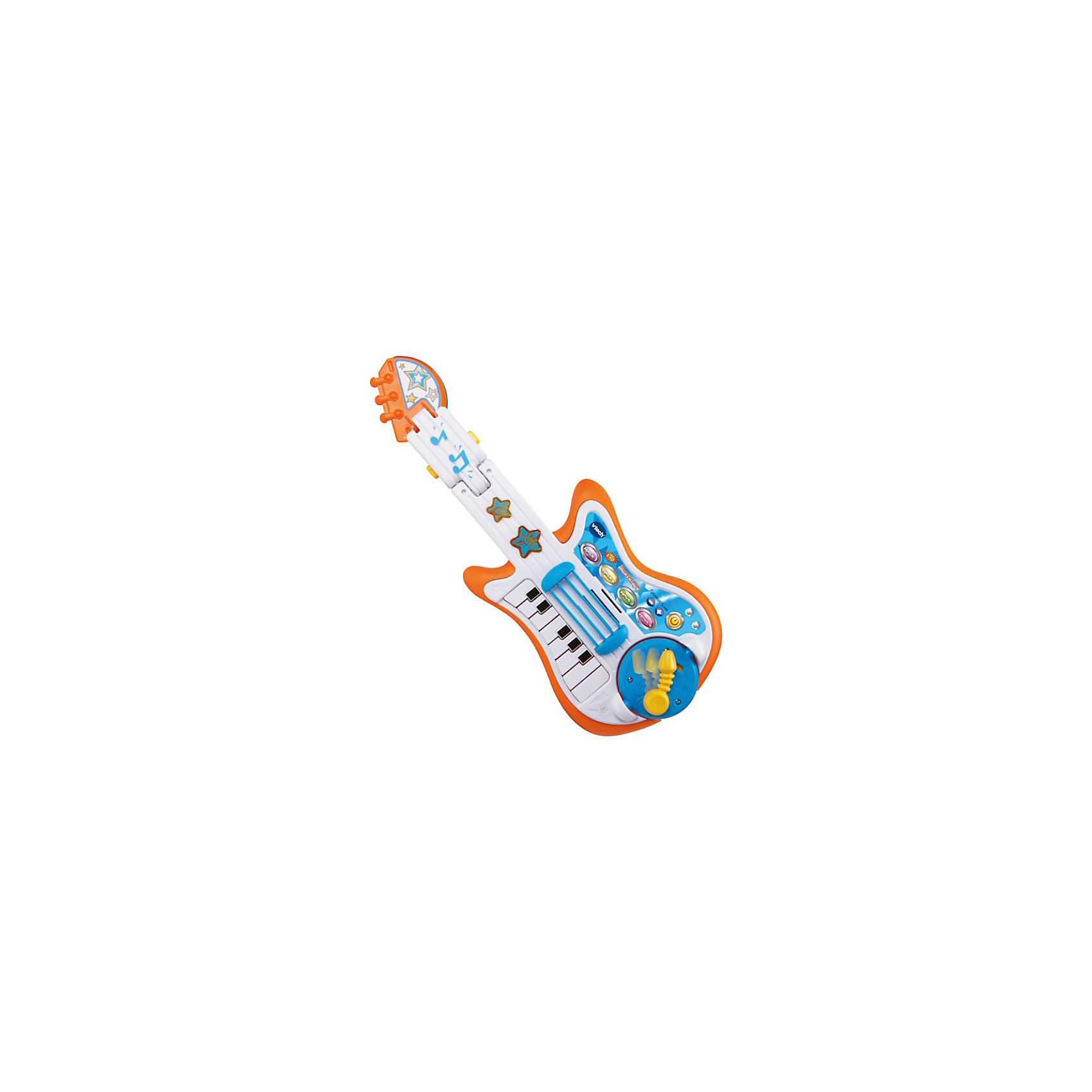 Развивающая игрушка Моя гитара, VtechДетские музыкальные инструменты<br>Развивающая игрушка Моя гитара, Vtech (Втеч).<br><br>Характеристики:<br><br>• Для детей от 3 до 6 лет<br>• Материал: пластик<br>• 13 песен и мелодий из мультфильмов<br>• Батарейки: 3 типа АА (в комплекте демонстрационные)<br>• Упаковка: красочная подарочная коробка<br>• Размер упаковки: 56х28х8 см.<br><br>Развивающая игрушка Моя гитара от французской компании Vtech – замечательная музыкальная игрушка 3 в 1 для юных меломанов. Игрушка совмещает в себе сразу 3 музыкальных инструмента: гитару, пианино, барабан с тарелкой. Ваш ребенок сможет фантазировать целыми днями с этим удивительным музыкальным инструментом. Малыш может наигрывать в такт песням из знаменитых мультфильмов или же придумать свою собственную мелодию. <br><br>Переключаясь с гитары на барабан, пианино или тарелку, ребенок сможет самостоятельно создать настоящее музыкальное произведение. Удобный ремень, расположенный на гитаре, позволит играть стоя и пританцовывать. Световые эффекты, кнопка аплодисментов и эффекты тремоло помогут малышу создать настоящий домашний концерт с овациями. На игрушке есть кнопка включения, кнопки увеличения и уменьшения громкости, а также 4 кнопки с мелодиями. <br><br>Панель со струнами подвижная. На грифе расположены светящиеся звуковые кнопки в форме звёздочек. У гитары есть круглая вставка с гитарным рычажком, с обратной стороны которой находится барабан. Гитарный гриф можно трансформировать в барабанную тарелку. У встроенного пианино 13 клавиш. Предусмотрен таймер автоматического отключения. Игрушка изготовлена из прочного безопасного пластика. Продается в красочной коробке и идеально подходит в качестве подарка.<br><br>Развивающую игрушку Моя гитара, Vtech (Втеч) можно купить в нашем интернет-магазине.<br><br>Ширина мм: 280<br>Глубина мм: 80<br>Высота мм: 560<br>Вес г: 1280<br>Возраст от месяцев: 12<br>Возраст до месяцев: 48<br>Пол: Унисекс<br>Возраст: Детский<br>SKU: 3848613