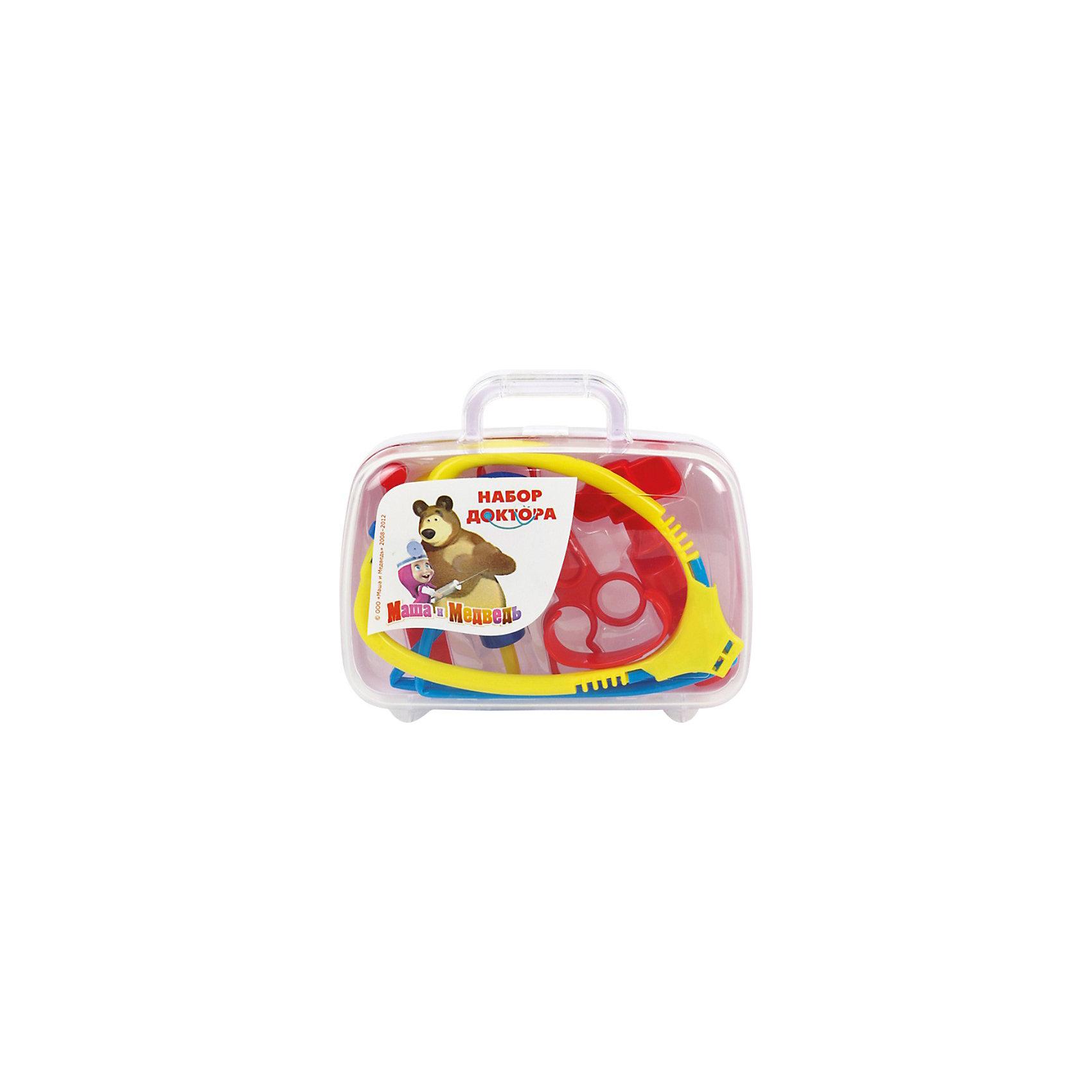 Набор доктора в пластиковом чемодане, Маша и Медведь, Играем вместеНабор доктора в пластиковом чемодане, Маша и Медведь, Играем вместе, в ассортименте – это отличный подарок для юного доктора.<br>Этот набор незаменим для маленького доктора или медсестры! Ведь в нем ребенок все необходимое для скорой помощи заболевшему. Шесть различных медицинских предметов помогут спасти любого пациента, а удобный пластиковый чемоданчик просто незаменим в больничных делах! Играй в доктора вместе с любимыми персонажами мультфильма Маша и медведь!<br><br>Дополнительная информация:<br><br>- В наборе: шесть медицинских предметов, чемодан<br>- Материал: пластик<br>- Размер упаковки: 18 х 16 х 5 см.<br>- Вес: 270 гр.<br><br>Данный артикул может быть представлен в разных вариантах исполнения. К сожалению, заранее выбрать определенный вариант невозможно. При заказе нескольких наборов возможно получение одинаковых.<br><br>Набор доктора в пластиковом чемодане, Маша и Медведь, Играем вместе, в ассортименте можно купить в нашем интернет-магазине.<br><br>Ширина мм: 50<br>Глубина мм: 180<br>Высота мм: 160<br>Вес г: 270<br>Возраст от месяцев: 24<br>Возраст до месяцев: 120<br>Пол: Унисекс<br>Возраст: Детский<br>SKU: 3848621