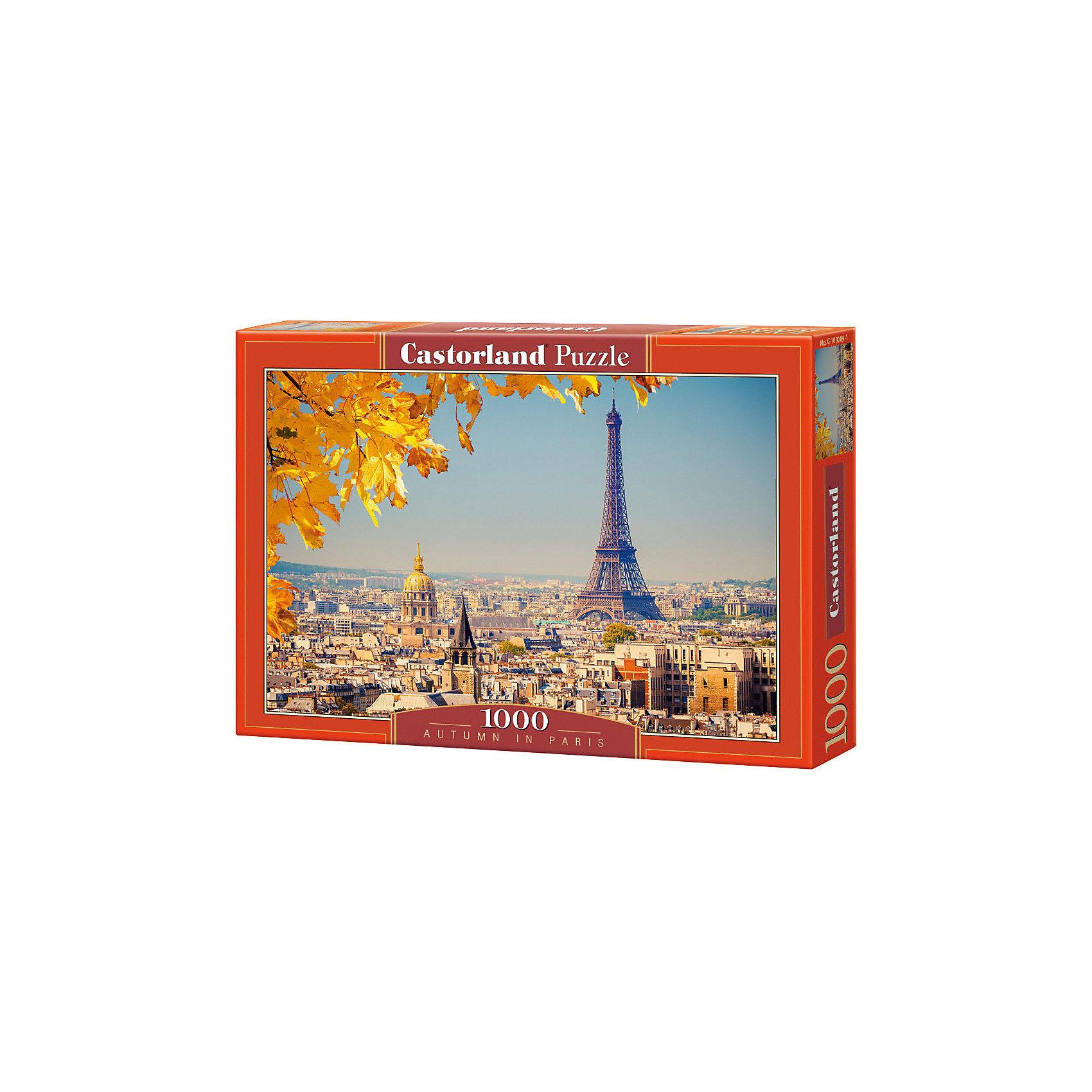 Пазл Осень в Париже, 1000 деталей, CastorlandКлассические пазлы<br>Насладиться великолепием осенних красок Вам поможет пазл «Осень в Париже», Castorland (Касторленд).  Собрав пазл  из 1000 деталей плотного и качественного картона, Вы увидите легендарную  Эйфелеву башню, а также знаменитые парижские кварталы. Пазл прекрасно подойдет для семейного творчества и поможет увлекательно и с пользой провести не один вечер. Пазл «Осень в Париже» от  Castorland (Касторленд) не только доставит Вашему ребенку удовольствие, но и разовьет в нем усидчивость, внимание и логику. <br><br>Дополнительная информация:<br><br>- Уникальное качество деталей;<br>- Развивает: воображение, логику, мелкую моторику, память;<br>- Чудесное украшение интерьера;<br>- Прекрасная полиграфия;<br>- Материал: картон;<br>- Размеры коробки: 24,8 x 34,8 x 5,1 см;<br>- Размер готовой картинки: 68 х 48 см;<br>- Вес: 0,5кг.<br><br>Пазл « Осень в Париже», 1000 деталей, Castorland (Касторленд)  можно купить в нашем интернет-магазине.<br><br>Ширина мм: 350<br>Глубина мм: 50<br>Высота мм: 250<br>Вес г: 500<br>Возраст от месяцев: 168<br>Возраст до месяцев: 1188<br>Пол: Унисекс<br>Возраст: Детский<br>Количество деталей: 1000<br>SKU: 3849111