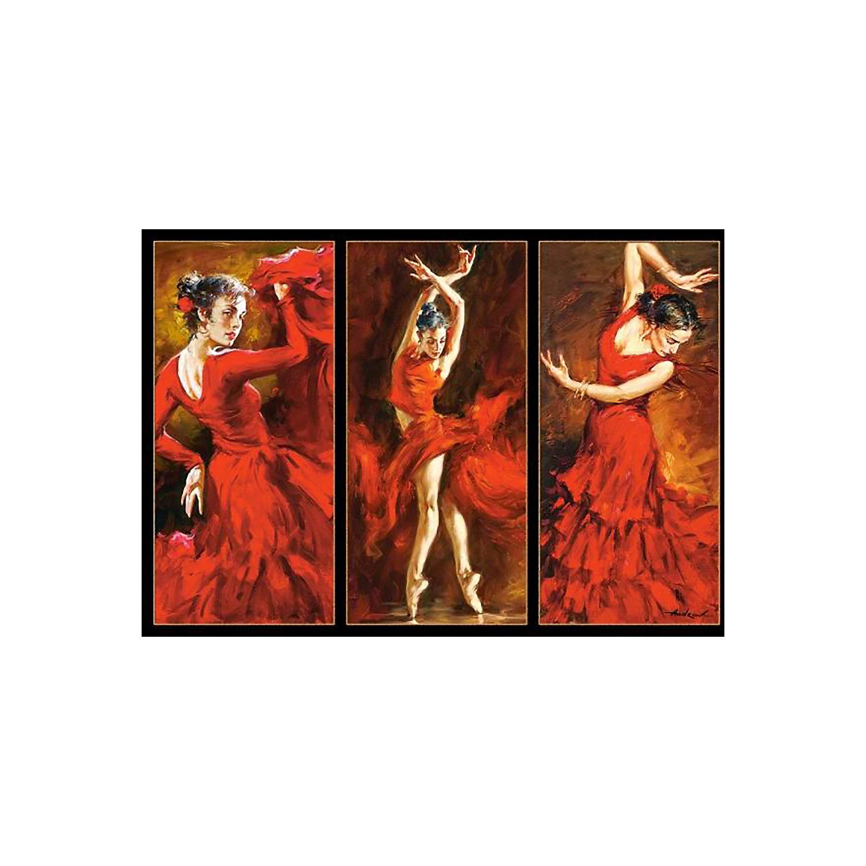 Пазл Танцы, 1000 деталей, CastorlandКлассические пазлы<br>Пазл «Танцы» - яркий и зажигательный триптих на тему фламенко. Насыщенная цветовая гамма выражает бурю эмоций в каждом движении танцовщицы. Картина состоит из 1000 элементов, каждый из которых выполнен  из плотного картона, благодаря чему работать с ними легко и просто. Готовая картина станет оригинальным украшением квартиры и поразит Ваших гостей своим великолепием и качественным исполнением.<br><br>Дополнительная информация:<br><br>- Уникальное качество деталей;<br>- Развивает: воображение, логику, мелкую моторику, память;<br>- Чудесное украшение интерьера;<br>- Прекрасная полиграфия;<br>- Размеры: 24,9 x 34,8 x 5,1 см;<br>- Размер готовой картинки: 68 х 47 см;<br>- Вес: 0,5 кг.<br><br>Пазл « Танцы», 1000 деталей, Castorland (Касторленд)  можно купить в нашем интернет-магазине.<br><br>Ширина мм: 350<br>Глубина мм: 50<br>Высота мм: 250<br>Вес г: 500<br>Возраст от месяцев: 168<br>Возраст до месяцев: 1188<br>Пол: Унисекс<br>Возраст: Детский<br>Количество деталей: 1000<br>SKU: 3849114