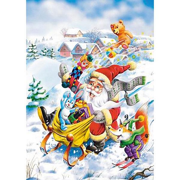 Пазл Поездка Санты, 120 деталей, CastorlandПазлы для детей постарше<br>Добродушный Санта Клаус мчится на санях с кучей подарков. Соберите  пазл «Поездка Санты»  Castorland (Касторленд) и узнайте, что именно собрался подарить Санта малышам. Гладкие глянцевые детали уникальной формы (более мелкие по сравнению с обычными) изготовлены из плотного картона и точно нарезаны, поэтому стыкуются без проблем. Яркая цветовая гамма и красивый рисунок с интересным сюжетом порадуют Вас и Вашего малыша и принесут  массу положительных эмоций!<br><br>Дополнительная информация:<br><br>- Прекрасный подарок на Новый Год;<br>- Уникальное качество деталей;<br>- Размеры упаковки 13 х 3,7 х 17,5 см;<br>- Размер картинки: 32 х 23 см;<br>- Вес: 150 г<br><br>Пазл «Поездка Санты», 120 деталей, Castorland (Касторленд)  можно купить в нашем интернет-магазине.<br><br>Ширина мм: 180<br>Глубина мм: 40<br>Высота мм: 130<br>Вес г: 150<br>Возраст от месяцев: 60<br>Возраст до месяцев: 120<br>Пол: Унисекс<br>Возраст: Детский<br>Количество деталей: 120<br>SKU: 3849132