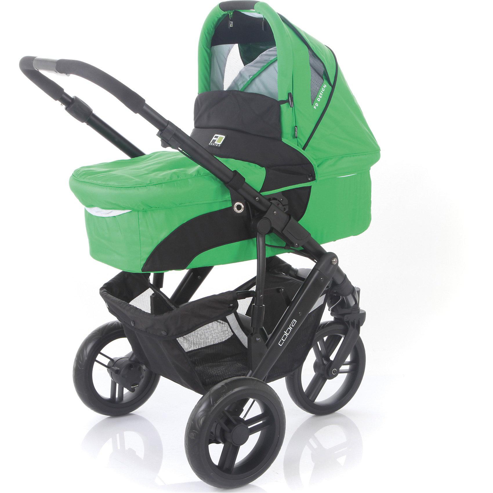 Коляска 2 в 1 FD Design Cobra, зеленыйКоляски 2 в 1<br>Коляска 2 в 1 Cobra, FD Design, зеленый - это удобная многофункциональная коляска для малышей и их родителей.<br>FD Design Cobra – стильная и функциональная коляска 2в1. Конструкция сверхпрочной алюминиевой рамы под три колеса большого диаметра обеспечивает превосходную маневренность. Переднее колесо, плавающее с возможностью фиксации. Имеется стояночный тормоз на задней оси. Коляска имеет небольшой вес. Она состоит из люльки с ровным жестким дном и прогулочного блока. Высокая посадка прогулочного блока облегчает доступ к ребенку. К тому же, сидение можно устанавливать и лицом к маме, и лицом к дороге. Прогулочный блок может наклоняться в 3 положениях, до 170 градусов, что гарантирует оптимальную посадку ребенка. А за его безопасность отвечают 5-точечные ремни и съемный бампер с мягкой накладкой. Подножку можно регулировать по высоте, что обеспечивает максимальный комфорт малышу. Для удобной переноски люльки, есть специальная ручка на капюшоне. На днище находятся резиновые ножки. Большой капюшон на коляске защитит ребенка от солнечных лучей и капель дождя. Родителей, несомненно, обрадует вместительная сумка для вещей и ручка, регулируемая по высоте. Рама легко и компактно складывается в книжку. Съемные тканевые детали можно стирать в машине при 30 градусах.<br><br>Дополнительная информация:<br><br>- Комплектация: прогулочный блок, люлька, сумка для мамы, дождевик, чехол на ножки, москитная сетка<br>- Цвет: авокадо (зеленый)<br>- Диаметр колес: 26 см.<br>- Тип колес: плотная резина<br>- Механизм складывания: книжка<br>- Ширина колесной базы: 69 см. <br>- Вес: 11,3 кг.<br>- Размеры в собранном виде: 82x68x29 см.<br>- Размеры: люлька – 76x34х18 см, прогулочный блок – 98х30х26 см.<br>- Высота ручки: 102-107 см.<br>- Материал люльки: внешняя ткань плотная и водонепроницаемая, внутренний чехол - высококачественный и натуральный хлопок, съемный для стирки<br>- Материал изготовления: алюминий, пластик<br>- Возможно прио