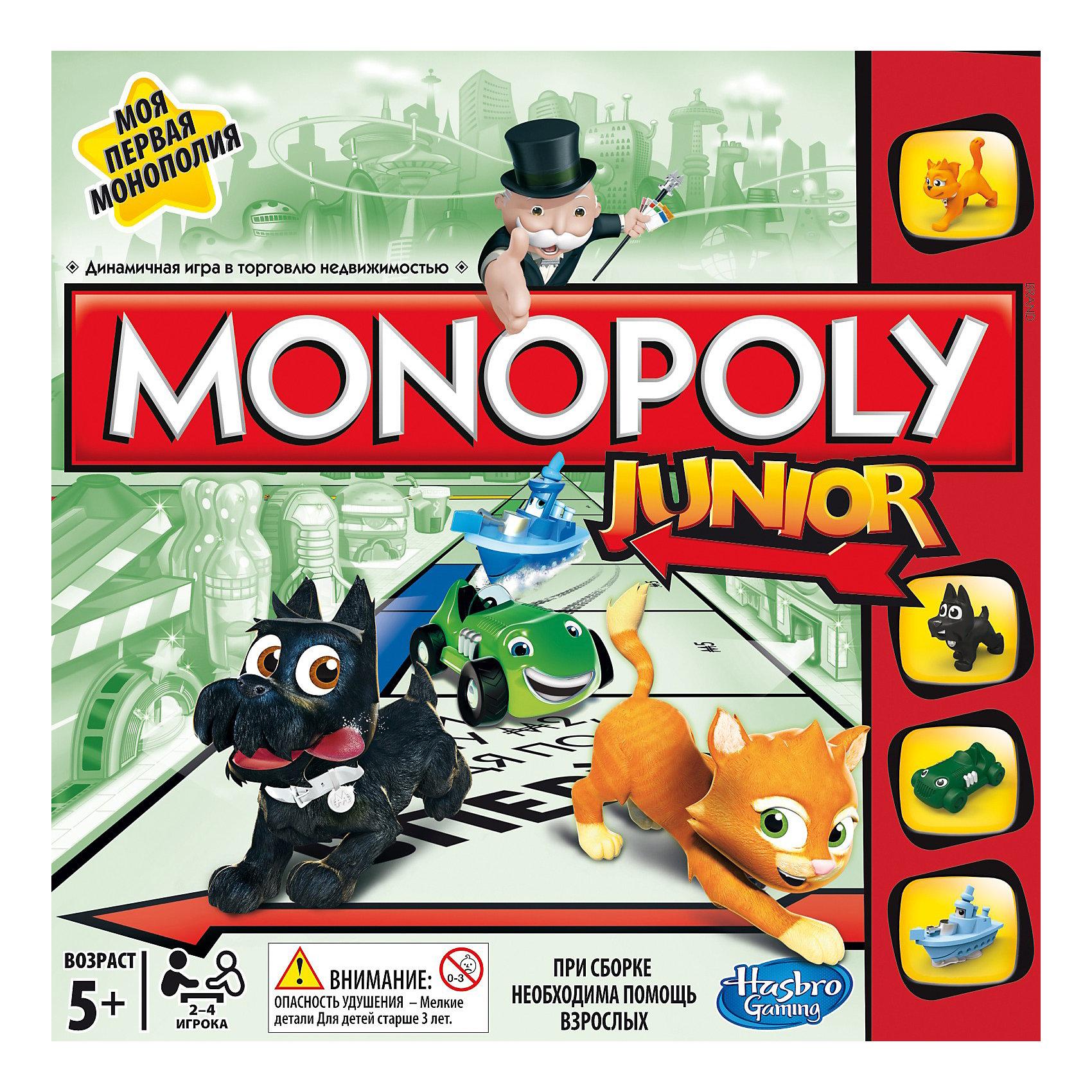 Моя первая монополия, HasbroНовая веселая Монополия для детей! Это быстрая, захватывающая и легкая в обучении игра для детей от 5 лет. Дети становятся владельцами музея, магазином игрушек, кондитерской и другой недвижимостью, которая так привлекает детей. В комплекте забавные фишки.<br><br>Дополнительная информация:<br><br>- Материал: картон.<br>- Количество игроков: 2-4.<br>- Комплектация: кубик (1 шт.), игральные фишки (4 шт.), карточки (20 шт.), жетоны (64 шт.)<br>- Игра полностью русифицирована. <br>- Инструкция на русском языке.<br><br>Игру Моя первая монополия, Hasbro можно купить в нашем магазине.<br><br>Ширина мм: 50<br>Глубина мм: 267<br>Высота мм: 267<br>Вес г: 644<br>Возраст от месяцев: 60<br>Возраст до месяцев: 96<br>Пол: Унисекс<br>Возраст: Детский<br>SKU: 3854426