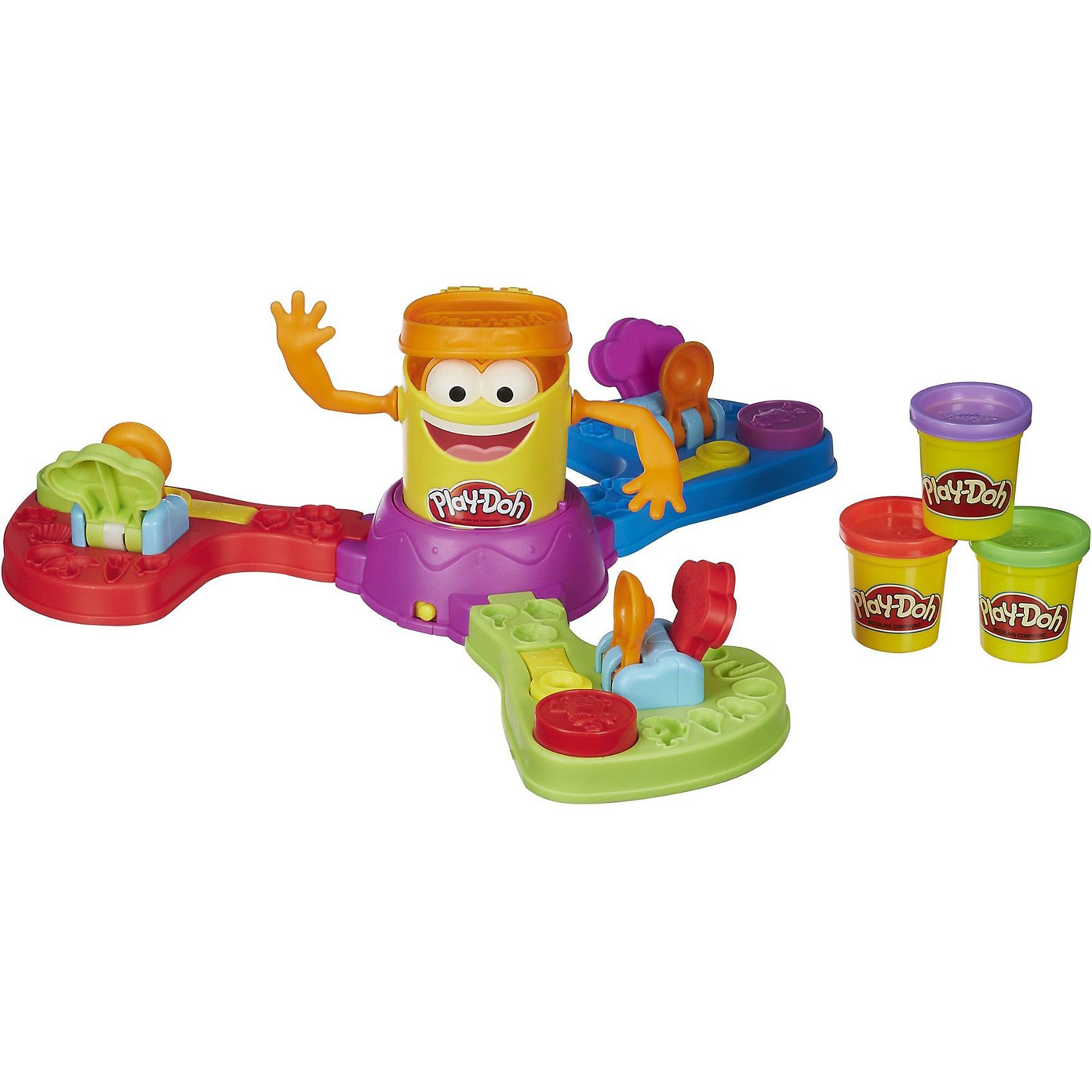 Игра Забавная Плейдошка, Play-DohДля больших компаний<br>Игра Play-Doh - прекрасная игра для всей семьи. В центре игры находится забавный Плейдошка, вокруг него находятся 3 пусковых устройства. Как только вы запустите механизм вращения, потешная баночка-человечек начнет крутиться, дразня игроков вращающимися руками и не переставая хлопать шапкой-крышечной, закрывая и открывая ее. Игроки должны:<br>- Заложить пластилин в специальную формочку в пусковом устройстве.<br>- Прижать его сверху круглым прессом, чтобы получился пластилиновый    шарик.<br>- Метко запустить шарик в Плейдошку, нажав на специальную кнопочку. Сделать это надо в тот момент, когда человечек повернется к вам лицом и  откроет крышечку.  <br>Кто будет точнее всех и метко попадет в Плейдошку больше других - тот и победил. Игра выполнена из высококачественного прочного пластика, имеет удобные крепления деталей, легко собирается и разбирается.   Развивает внимание, мелкую моторику, координацию. <br><br>Дополнительная информация:<br><br>- Комплектация: игровая установка (сборная), 3 баночки пластилина Play-Doh, инструкция.<br>- Материал: пластик, пластилин.<br>- Элемент питания: 1 х C 1.5V (не входит в комплект).<br>- Количество игроков: 2 или 3.<br>- Размер упаковки: 27 х 8 х 27 см<br><br>Игру Play-Doh (Плей- До) можно купить в нашем магазине.<br><br>Ширина мм: 81<br>Глубина мм: 267<br>Высота мм: 267<br>Вес г: 1090<br>Возраст от месяцев: 48<br>Возраст до месяцев: 84<br>Пол: Унисекс<br>Возраст: Детский<br>SKU: 3854428
