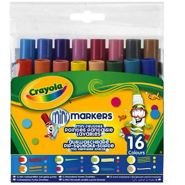 16 мини-фломастеров с узорными наконечниками, CrayolaФломастеры<br>16 мини-фломастеров с узорными наконечниками – это то, что нужно любому юному художнику. Обладая шестнадцатью разными цветами, вы можете нарисовать и оформить что угодно. Тем более, что в наборе представлено 8 разных видов наконечников фломастеров – выводите по одной, две, три, четыре линии за раз, украшайте свой рисунок цветными многоугольниками, наклонными полосами и т.д. <br>Огромным достоинством этих фломастеров является то, что они прекрасно смываются с любой поверхности, при этом отлично сохраняют свой цвет на бумаге. Небольшой размер  идеально подходит для маленьких детских ручек.<br><br>Дополнительная информация:<br><br>- 16 цветов<br>- Материал: пластик<br>- Размер упаковки: 13,5x12x3.5 см <br>- 8 разных наконечников.<br>- На водной основе ( легко смываются)<br><br>16 мини-фломастеров с узорными наконечниками, Crayola  можно купить в нашем магазине.<br><br>Ширина мм: 140<br>Глубина мм: 132<br>Высота мм: 37<br>Вес г: 200<br>Возраст от месяцев: 36<br>Возраст до месяцев: 108<br>Пол: Унисекс<br>Возраст: Детский<br>SKU: 3854927