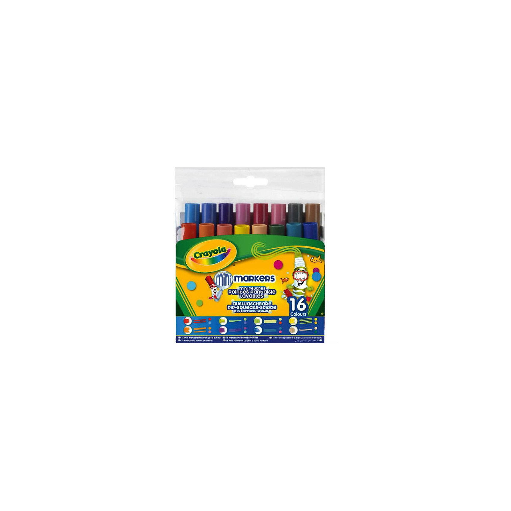 16 мини-фломастеров с узорными наконечниками, Crayola16 мини-фломастеров с узорными наконечниками – это то, что нужно любому юному художнику. Обладая шестнадцатью разными цветами, вы можете нарисовать и оформить что угодно. Тем более, что в наборе представлено 8 разных видов наконечников фломастеров – выводите по одной, две, три, четыре линии за раз, украшайте свой рисунок цветными многоугольниками, наклонными полосами и т.д. <br>Огромным достоинством этих фломастеров является то, что они прекрасно смываются с любой поверхности, при этом отлично сохраняют свой цвет на бумаге. Небольшой размер  идеально подходит для маленьких детских ручек.<br><br>Дополнительная информация:<br><br>- 16 цветов<br>- Материал: пластик<br>- Размер упаковки: 13,5x12x3.5 см <br>- 8 разных наконечников.<br>- На водной основе ( легко смываются)<br><br>16 мини-фломастеров с узорными наконечниками, Crayola  можно купить в нашем магазине.<br><br>Ширина мм: 140<br>Глубина мм: 132<br>Высота мм: 37<br>Вес г: 200<br>Возраст от месяцев: 36<br>Возраст до месяцев: 108<br>Пол: Унисекс<br>Возраст: Детский<br>SKU: 3854927
