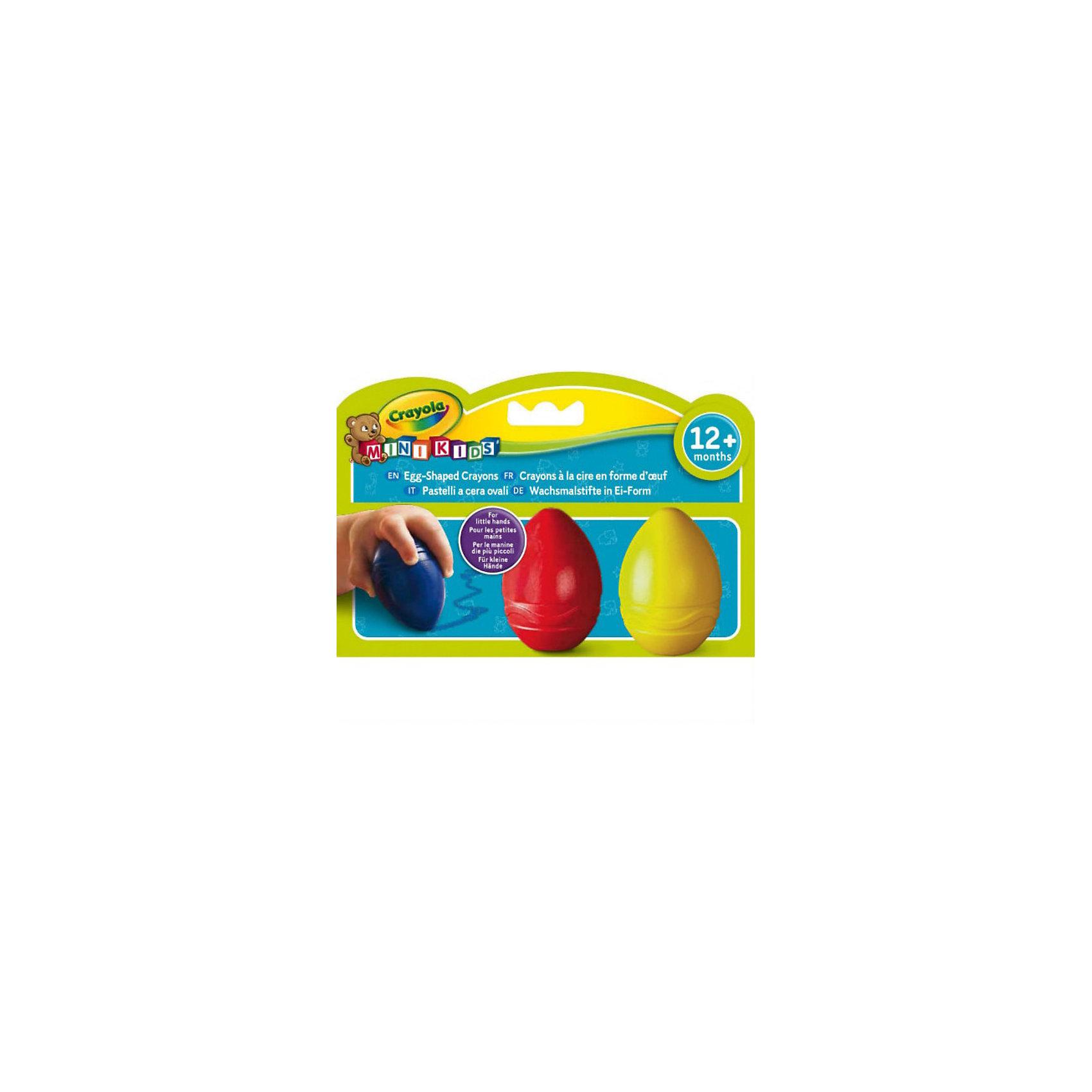 Восковые мелки в форме яйца, 3 цвета, CrayolaЭтими восковыми мелками можно рисовать уже начиная с 1 года. Благодаря специальной форме, крупные мелки легко захватывать, удерживать и направлять детской ручкой. <br>Необычная форма привлекает внимание малыша и стимулирует его к освоению рисования. Три базовых контрастных цвета - то, что нужно начинающему художнику. Когда малыш освоит мелки, покажите ему, как смешивать цвета. Из желтого и синего мелка при последовательном нанесении можно получить зеленый цвет, из синего и красного – фиолетовый. <br>Восковые мелки Crayola не токсичны и безопасны для детского здоровья. <br><br><br>Дополнительная информация:<br><br>- Материал: воск<br>- Размер упаковки: 11,4х16,7х5 см <br>- Мелки не токсичны и безопасны.<br><br>Восковые мелки в форме яйца, (3 цвета), Crayola  можно купить в нашем магазине.<br><br>Ширина мм: 114<br>Глубина мм: 167<br>Высота мм: 50<br>Вес г: 273<br>Возраст от месяцев: 12<br>Возраст до месяцев: 36<br>Пол: Унисекс<br>Возраст: Детский<br>SKU: 3854928
