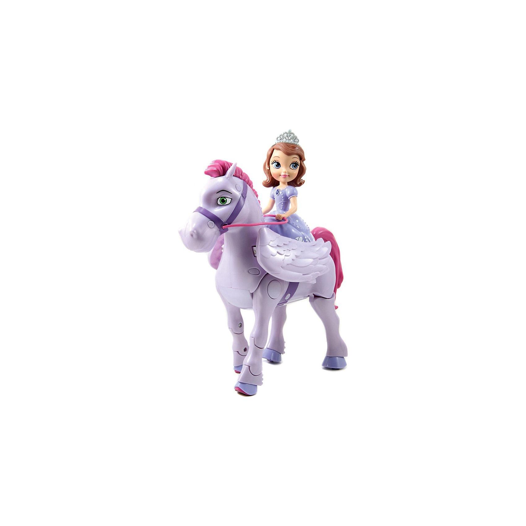 Игровой набор София Прекрасная и крылатый конь Минимус,  р/уПринцесса София Прекрасная из одноименного мультфильма кинокомпании Дисней обожает животных, У нее есть верный друг - конь по имени Минимус - волшебный конь-пегас с большими красивые крылья. <br>Радиоуправляемая игрушка-конь двигается вперед по кругу, сгибая и переставляя передние ноги и передвигая задними, имитируя движения лошади, машет крыльями, поворачивает направо и налево. При нажатии соответствующей кнопки на пульте управления раздается веселый смех принцессы Софии. <br><br>Дополнительная информация:<br><br>В наборе: пульт управления (работает от 2 АА батареек), фигурка коня (работает от 4 АА батареек) и Софии Прекрасной (несъемная). Батарейки в комплект не входят<br>Размер игрушки: 25,5 х 11,5 х 15,5 см.<br>Размер упаковки: 30,5 х 22,8 х 12,7 см.<br><br>Игровой набор София Прекрасная и крылатый конь Минимус,  р/у можно купить в нашем магазине.<br><br>Ширина мм: 305<br>Глубина мм: 228<br>Высота мм: 127<br>Вес г: 1200<br>Возраст от месяцев: 48<br>Возраст до месяцев: 120<br>Пол: Женский<br>Возраст: Детский<br>SKU: 3856592