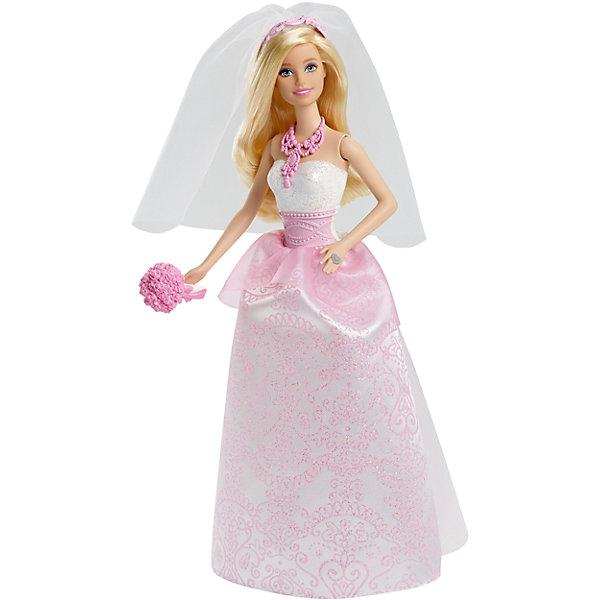 Кукла-невеста BarbieИгрушки<br>Характеристики товара:<br><br>• возраст: от 3 лет<br>• комплект: кукла, аксессуары.<br>• материал: высококачественный пластик, текстиль.<br>• размер упаковки: 16.5х6х32.4 см.<br>• вес: 181 г.<br>• высота куклы: около 29 см.<br>• упаковка: картонная коробка блистерного типа.<br>• страна бренда: США.<br><br>Кукла Сказочная невеста Барби наряжена в шикарное свадебное платье — в таком идти под венец не отказалась бы ни одна девушка! <br><br>Верхняя часть платья — это пластиковый корсет, верхняя часть которого обильно украшена нежными переливающимися блестками, а средняя часть создана в виде узорного розового пояса. Юбка платья украшена затейливым розовым узором и тонкими «лепестками» из нежной и воздушной сеточки. <br><br>На шее у куклы есть массивное колье, которое идеально подходит к ободку в волосах. И, конечно же, как и положено невесте, Барби носит фату, а в руке держит аккуратненький букетик розовых цветов. В таком превосходном наряде кукла точно поразит своего сказочного жениха!<br><br>Куклу-невесту Barbie Mattel можно купить в нашем интернет-магазине.<br>Ширина мм: 328; Глубина мм: 152; Высота мм: 62; Вес г: 200; Возраст от месяцев: 36; Возраст до месяцев: 96; Пол: Женский; Возраст: Детский; SKU: 3858560;