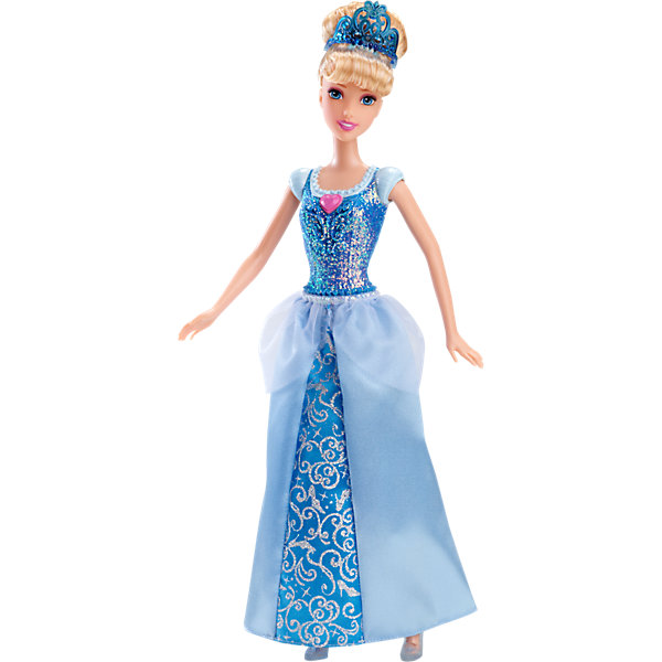 Кукла Золушка, Принцессы ДиснейБренды кукол<br>Кукла Золушка, Disney Princess (Принцесса Диснея) – это кукла, созданная для настоящей принцессы!<br>Сказочная Принцесса Золушка в блестящем платье, одна из самых очаровательных принцесс диснеевских мультипликационных фильмов и она ждет момента, когда все ее мечты сбудутся. Наряд куклы, как всегда, безупречен. Верхняя часть бального платья таинственно переливается, длинная юбка с блестящим принтом, атласными вставками и легкой полупрозрачной тканью сверху. На груди у куколки находится отличительный знак, присущий только ей – сердечко. На кукле полупрозрачные туфельки в тон к платью. Ее шелковистые волосы уложены в красивую высокую прическу и украшены голубой тиарой. Волосы куклы изготовлены из нейлона высокого качества. Одежду и обувь можно снимать. Образ куклы Золушка Disney Princess проработан до мелочей, является завершенным и целостным! Игрушечная Золушка выглядят, словно реальный прототип - героини мультфильмов и фильмов Disney о Золушке!<br><br>Дополнительная информация:<br><br>- Материал: высококачественный пластик, текстиль<br>- Рост куклы: 29 см.<br>- Размер упаковки: 11,5 х 6 х 32 см.<br>- Вес: 243 гр.<br><br>Куклу Золушка, Disney Princess (Принцесса Диснея) можно купить в нашем интернет-магазине.<br><br>Ширина мм: 329<br>Глубина мм: 119<br>Высота мм: 63<br>Вес г: 196<br>Возраст от месяцев: 36<br>Возраст до месяцев: 72<br>Пол: Женский<br>Возраст: Детский<br>SKU: 3858578
