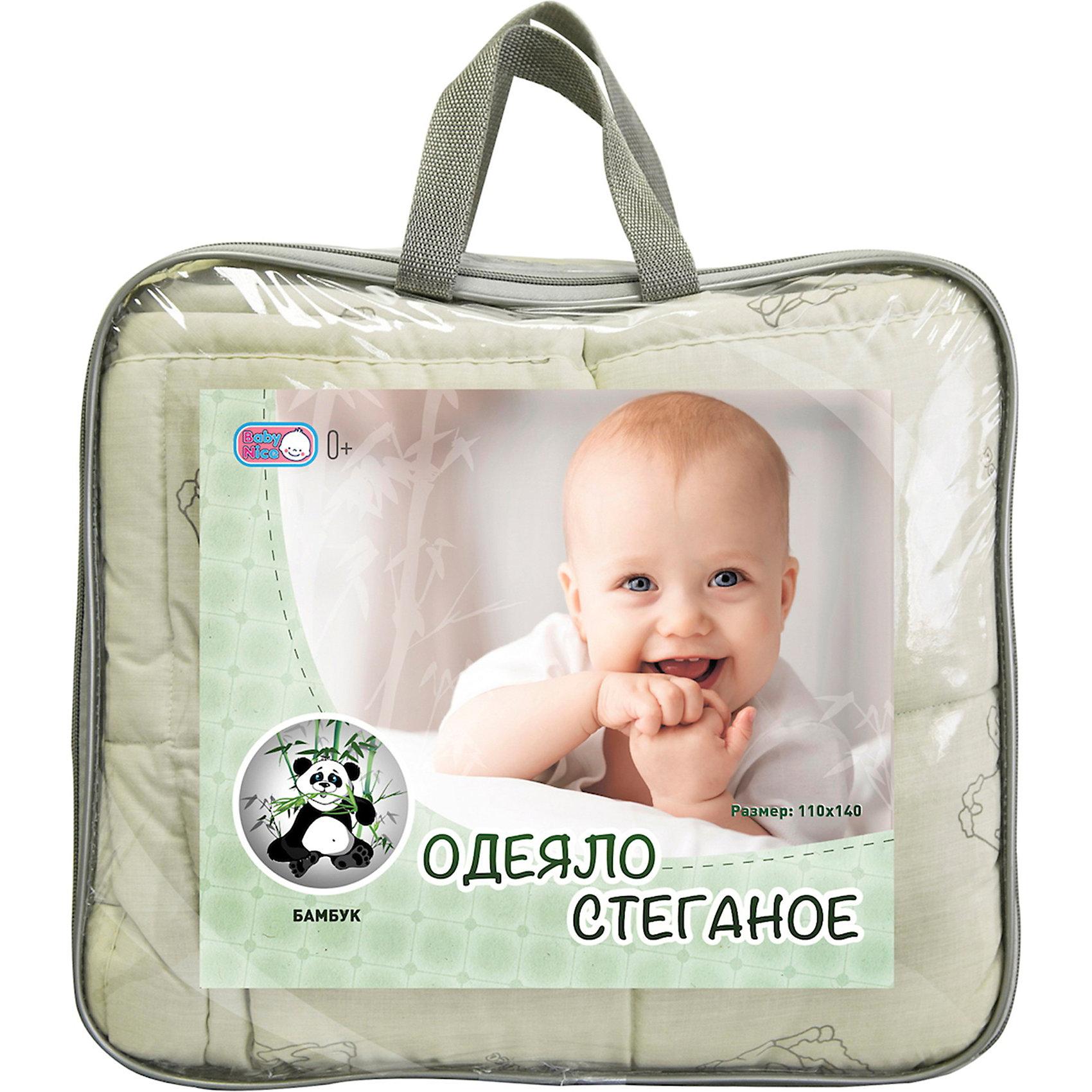 Одеяло стеганное 110х140 см, бамбук, Baby NiceОдеяла, пледы<br>Одеяло стеганное, 110х140 см. – это мягкое удобное одеяло наполнителем которого служит бамбуковое волокно и файбер-пласт.<br>Бамбуковое стеганое одеяло – это отличное одеяло для комфортного сна вашего ребенка. Бамбуковое волокно - экологически чистый природный материал: отлично впитывает и пропускает влагу, обеспечивая оптимальный уровень влажности; обладает отличными воздухопропускающими способностями; создает уникальный тепловой баланс; оказывает антибактериальный эффект; гипоаллергенно; выравнивает температуру, создает прекрасный микроклимат для сна. Бамбук впитывает воду на 60% лучше по сравнению с хлопком.<br><br>Дополнительная информация:<br><br>- Размер одеяла: 110х140 см.<br><br>Одеяло стеганное, 110х140 см. можно купить в нашем интернет-магазине.<br><br>Ширина мм: 600<br>Глубина мм: 400<br>Высота мм: 40<br>Вес г: 900<br>Возраст от месяцев: 0<br>Возраст до месяцев: 60<br>Пол: Унисекс<br>Возраст: Детский<br>SKU: 3859426