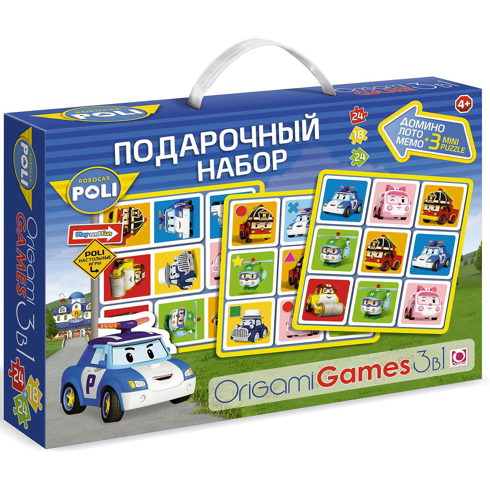 Origami Игра 3 в 1 Лото, домино, мемо + Набор пазлов 24*18*24 деталей, Робокар Поли origami игра 3 в 1 лото домино мемо набор пазлов 24 18 24 деталей фиксики