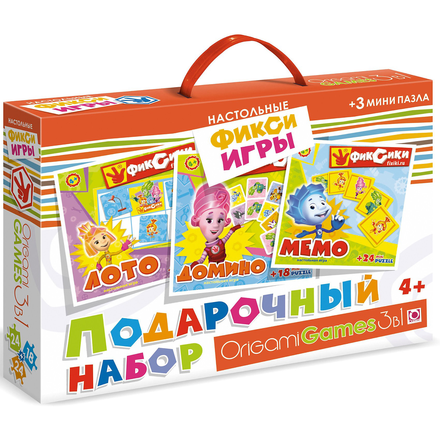 Origami Игра 3 в 1 Лото, домино, мемо + Набор пазлов 24*18*24 деталей, Фиксики подарочный набор 3в1 фиксики 00384