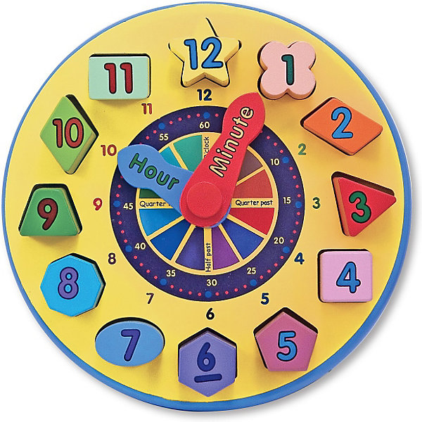 Сортировщик Часы, Melissa &amp; DougПособия для обучения счёту<br>Красочный деревянный сортировщик Часы Melissa &amp; Doug - это настоящее открытие для заботливых мам! Часы объединяют забавное развлечение и развивающую игрушку со множеством возможностей. В качестве цифр в циферблате используются двенадцать деревянных фигур разного цвета и формы, которые необходимо вставить в нужные пазы. Эти фигурки довольно большие и объемные, и главное идеально подогнаны к отверстиям, поэтому ребенку будет очень удобно брать их ручкой и ставить на место. Благодаря такой конструкции детки постарше могут изучать цвета и цифры просто играючи! Стрелки в часах яркие и подвижные, с их помощью можно показывать ребенку, который час. Постепенно ребенок научится понимать время на часах сам. Играйте и развивайтесь вместе с сортером Часы от  Melissa &amp; Doug!<br><br>Дополнительная информация:<br><br>- Игрушка помогает в развитии памяти, внимания, логического мышления;<br>- Полезный подарок;<br>- Помогает в изучении времени;<br>- Красочный дизайн;<br>- Материал: дерево, нетоксичный краситель;<br>- Диаметр: 23 см;<br>-  Размер упаковки: 23 х 11 х 23 см;<br>- Вес: 815 г<br><br>Сортировщик Часы, Melissa &amp; Doug можно купить в нашем интернет-магазине.<br><br>Ширина мм: 230<br>Глубина мм: 110<br>Высота мм: 230<br>Вес г: 815<br>Возраст от месяцев: 24<br>Возраст до месяцев: 72<br>Пол: Унисекс<br>Возраст: Детский<br>SKU: 3861952