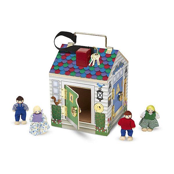 Игрушка Домик с замками, Melissa &amp; DougДомики для кукол<br>Игрушка Домик с замками, Melissa &amp; Doug - это настоящее приключение для маленьких исследователей! Маленькие дети обожают открывать ящики и искать новые уголки. Подарите малышу необыкновенный домик, в котором целых четыре комнаты, где его ожидают милые человечки. Замечательная игрушка надолго займет внимание малыша, ведь каждую дверку нужно открыть ключиком и предварительно позвонить в очаровательный звоночек. У каждого звоночка своя прекрасная  мелодия. Благодаря металлической ручке на крыше домик легко переносить. Его можно взять с собой на прогулку или в гости.  Прекрасный домик поможет укрепить детские пальчики, будет способствовать развитию мелкой моторики, воображения, внимания, стимулировать развитие мозга. Создайте свой мир вместе с  Melissa &amp; Doug!<br><br>Дополнительная информация:<br><br>- Потрясающие подарок;<br>- Отличный тренажер мелкой моторики;<br>- В комплекте: домик, 4 человечка, ключики; <br>- Красочный дизайн;<br>- Материал: дерево, прессованный картон, ПВХ;<br>- Для работы звонков необходимы батарейки: 2 шт. типа ААА (в комплект не входят);<br>- Размер игрушки: 17 х 22 х 17 см;<br>- Вес: 1,13 кг<br><br>Игрушку Домик с замками, Melissa &amp; Doug можно купить в нашем интернет-магазине.<br><br>Ширина мм: 170<br>Глубина мм: 170<br>Высота мм: 220<br>Вес г: 1133<br>Возраст от месяцев: 24<br>Возраст до месяцев: 60<br>Пол: Унисекс<br>Возраст: Детский<br>SKU: 3861953