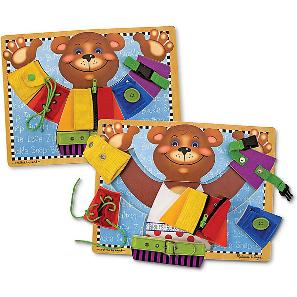 Игрушка Развиваем основные навыки, Melissa &amp; DougРазвивающие игрушки<br>Игрушка Развиваем основные навыки, Melissa &amp; Doug - это забавный и увлекательный способ научить малыша справляться с одеванием самому. Игрушка красочная, притягательная и выполнена из натурального дерева. На доске изображен замечательный мишка, одетый в куртку с множеством застежек. Ребенок играючи сможет застёгивать пуговицы, молнии, зашнуровывать обувь, застёгивать ремень и карабины. Изучать навыки можно сразу на планшете, а можно по отдельности ( ведь все части снимаются), что очень удобно для занятий с несколькими детьми. Играйте и наслаждайтесь вместе с  Melissa &amp; Doug!<br><br>Дополнительная информация:<br><br>- Потрясающие подарок для ребенка;<br>- Отличный тренажер мелкой моторики;<br>- Научит малыша одеваться;<br>- Красочный дизайн;<br>- Материал: натуральное дерево, пластик, текстиль;<br>- Размер доски: 40 х 30 см;<br>- Размер упаковки: 30 х 10 х 40 см;<br>- Вес: 1 кг<br><br>Игрушку Развиваем основные навыки, Melissa &amp; Doug можно купить в нашем интернет-магазине.<br>Ширина мм: 400; Глубина мм: 10; Высота мм: 300; Вес г: 1042; Возраст от месяцев: 24; Возраст до месяцев: 36; Пол: Унисекс; Возраст: Детский; SKU: 3861956;