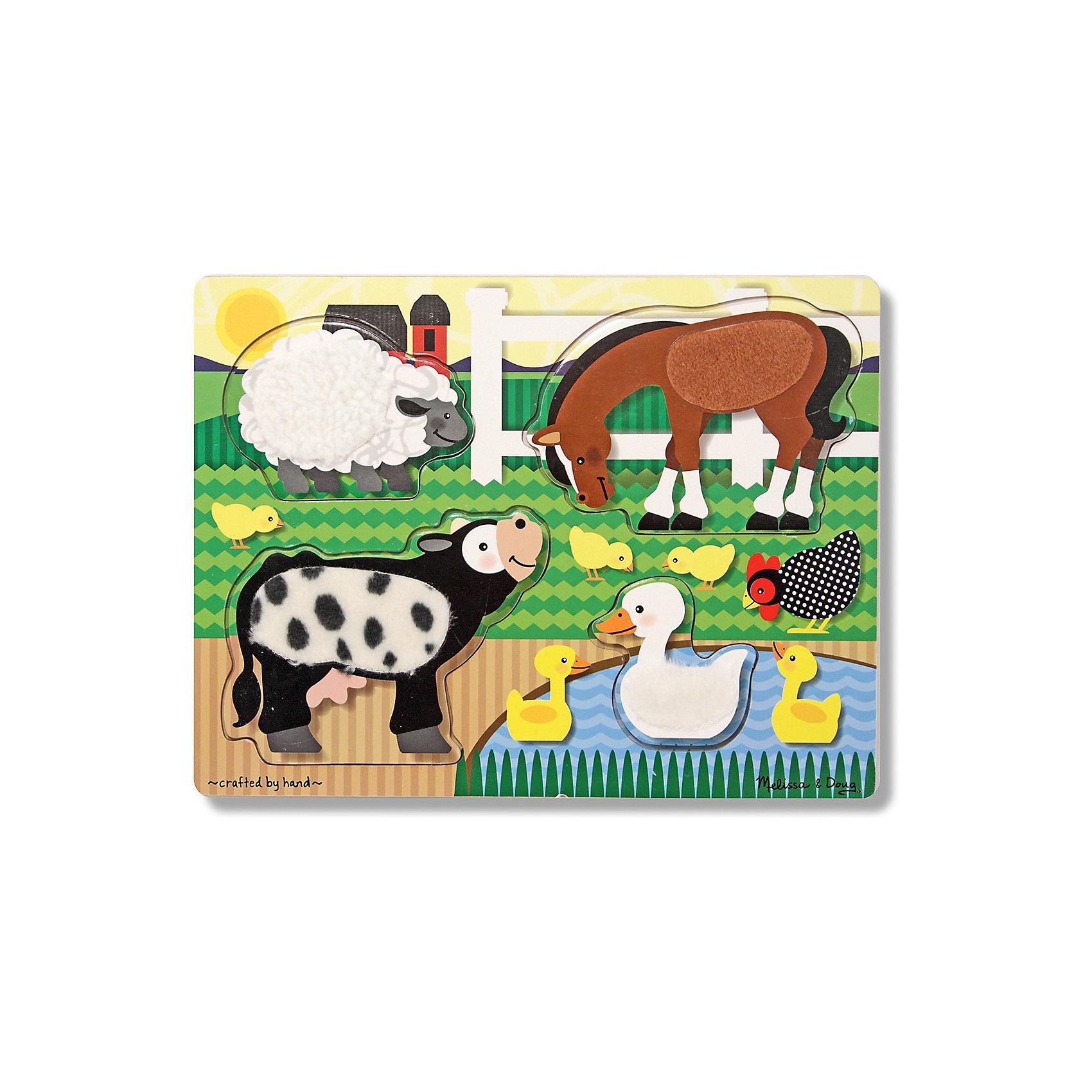 Melissa & Doug Рамка-вкладыш Ферма 4 детали, Melissa & Doug игрушка для животных каскад барабан с колокольчиком 4 х 4 х 4 см
