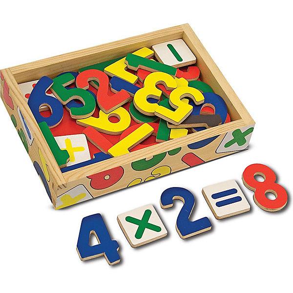 Магнитная игра Цифры (37шт), Melissa &amp; DougПособия для обучения счёту<br>Магнитная игра Цифры (37шт), Melissa &amp; Doug  забавное развлечение и тренажер арифметики в одной игрушке. Яркие, крупные деревянные цифры на магнитах уложены в удобную деревянную коробочку. Малышу будет интересно играть с ними, образовывая и решая простенькие задачи. Складывать и умножать теперь можно и на холодильнике и на магнитной доске и даже на полу! Игрушка прекрасно развивает память, зрительные ассоциации, даёт первые навыки устного счёта. Играйте и считайте с удовольствием вместе с  Melissa &amp; Doug!<br><br>Дополнительная информация:<br><br>- Набор состоит из 37 деревянных математических символов и цифр с магнитиками на обратной стороне;<br>- Комплект позволяет одновременно составить все числа от 1 до 20;<br>- Потрясающие подарок для ребенка;<br>- Красочный дизайн;<br>- Цифры крупные;<br>- Материал: натуральное дерево, безопасные краски;<br>- Размер игрушки: 20 х 14 х 4 см;<br>- Размер упаковки: 20 х 14 х 5 см;<br>- Вес: 997 г<br><br>Магнитную игру Цифры (37шт), Melissa &amp; Doug    можно купить в нашем интернет-магазине.<br>Ширина мм: 200; Глубина мм: 50; Высота мм: 140; Вес г: 390; Возраст от месяцев: 24; Возраст до месяцев: 60; Пол: Унисекс; Возраст: Детский; SKU: 3861959;