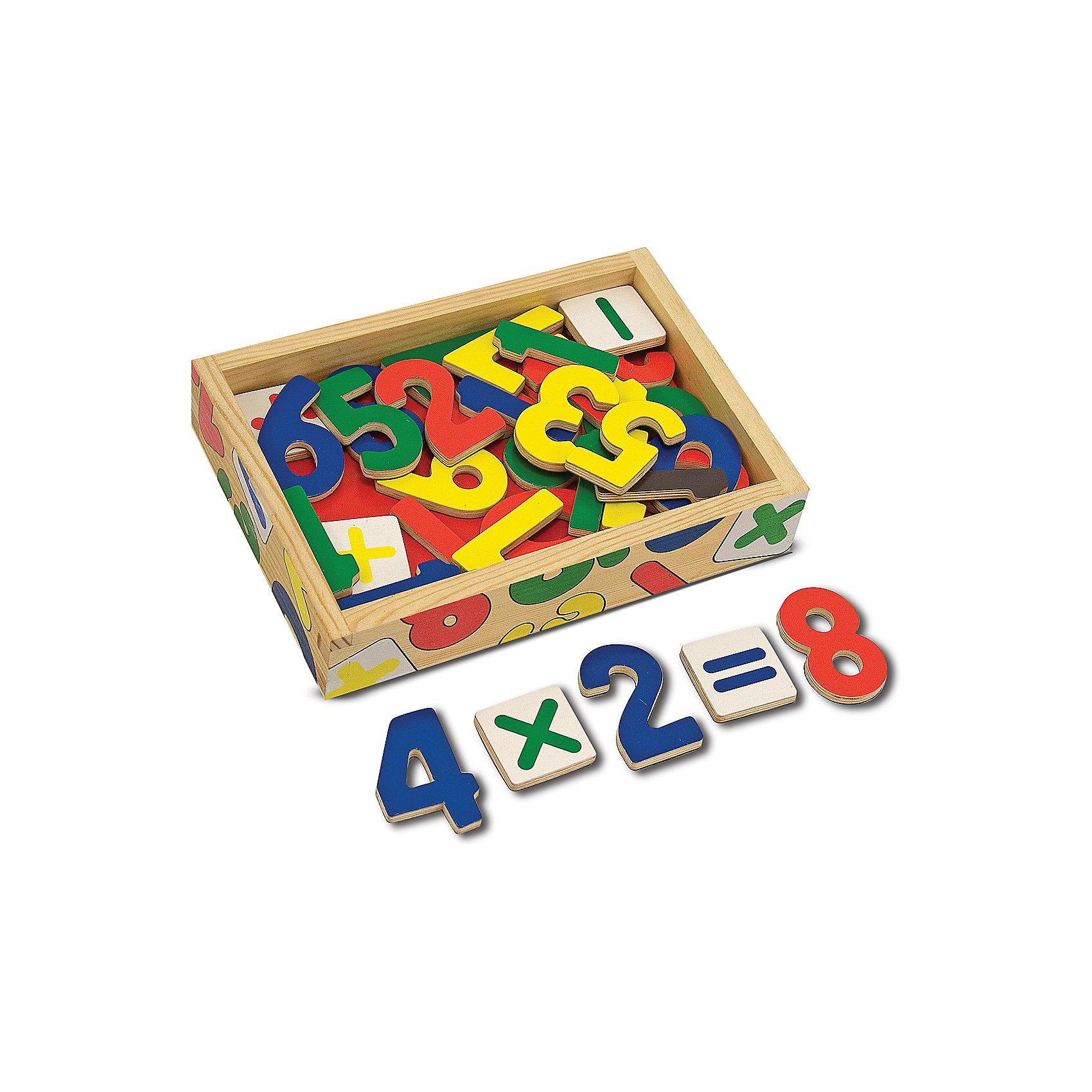 Магнитная игра Цифры (37шт), Melissa &amp; DougМагнитная игра Цифры (37шт), Melissa &amp; Doug  забавное развлечение и тренажер арифметики в одной игрушке. Яркие, крупные деревянные цифры на магнитах уложены в удобную деревянную коробочку. Малышу будет интересно играть с ними, образовывая и решая простенькие задачи. Складывать и умножать теперь можно и на холодильнике и на магнитной доске и даже на полу! Игрушка прекрасно развивает память, зрительные ассоциации, даёт первые навыки устного счёта. Играйте и считайте с удовольствием вместе с  Melissa &amp; Doug!<br><br>Дополнительная информация:<br><br>- Набор состоит из 37 деревянных математических символов и цифр с магнитиками на обратной стороне;<br>- Комплект позволяет одновременно составить все числа от 1 до 20;<br>- Потрясающие подарок для ребенка;<br>- Красочный дизайн;<br>- Цифры крупные;<br>- Материал: натуральное дерево, безопасные краски;<br>- Размер игрушки: 20 х 14 х 4 см;<br>- Размер упаковки: 20 х 14 х 5 см;<br>- Вес: 997 г<br><br>Магнитную игру Цифры (37шт), Melissa &amp; Doug    можно купить в нашем интернет-магазине.<br><br>Ширина мм: 200<br>Глубина мм: 50<br>Высота мм: 140<br>Вес г: 390<br>Возраст от месяцев: 24<br>Возраст до месяцев: 60<br>Пол: Унисекс<br>Возраст: Детский<br>SKU: 3861959