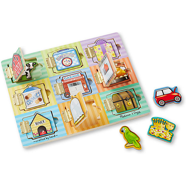 Магнитная игра Прятать и искать, Melissa &amp; DougОкружающий мир<br>Магнитная игра Прятать и искать, Melissa &amp; Doug  надолго увлечет Вашего малыша, ведь на ней целых девять дверок за которыми прячутся разнообразные магнитные картинки. Малыш будет в полном восторге, когда с помощью этой замечательной игры узнает, что прячется за дверкой с подарком, сундучком или духовкой. Яркая и занимательная доска выполнена из натуральных материалов и играть с ней могут даже самые маленькие дети. А с детьми постарше можно проводить соревнования на память или угадывание. Просто развлекаясь, ребенок будет тренировать логику, внимание, моторику рук и конечно же память! Играйте и наслаждайтесь вместе с  Melissa &amp; Doug!<br><br>Дополнительная информация:<br><br>-  Способствует развитию мелкой моторики, воображения, логического мышления;<br>- Потрясающие подарок  даже для самых маленьких;<br>- В отверстия необходимо вставлять магнитные карточки с подходящими картинками;<br>- Красочный дизайн;<br>- Материал: натуральное дерево, металл, безопасные краски;<br>- Размер упаковки: 31 х 2 х 24 см;<br>- Вес: 725 г<br><br>Магнитную игру Прятать и искать, Melissa &amp; Doug  можно купить в нашем интернет-магазине.<br>Ширина мм: 310; Глубина мм: 20; Высота мм: 240; Вес г: 725; Возраст от месяцев: 36; Возраст до месяцев: 60; Пол: Унисекс; Возраст: Детский; SKU: 3861961;