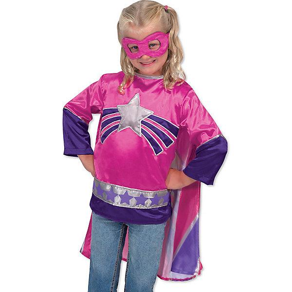 Карнавальный костюм Супер-Героиня, Melissa &amp; DougКарнавальные костюмы для девочек<br>Дети обожают комиксы и перевоплощения! Подарите Вашей девочке карнавальный костюм Супер-Героиня, Melissa &amp; Doug и счастью не будет предела. Снежинки и нежные принцессы расступаются, когда на арену выступает Супергероиня! Она  смотрит на все проблемы через двуцветную полумаску и приходит на помощь всем слабым. При этом за ней так красиво развевается розово - полосатый плащ.  Карнавальный костюм Супер-Героиня прекрасно подойдет  для девочки 3-6 лет. Он будет хитом утренника в саду, новогодней вечеринки и забавной фотосессии. Подарите ребенку часы безграничной фантазии и суперсилы в костюме Супер-Героиня, Melissa &amp; Doug !<br><br>Дополнительная информация:<br><br>- Карнавальный костюм для девочки;<br>- В комплекте: маска, блузка с плащом;<br>- Отлично подойдет для праздников, карнавалов, вечеринок;<br>- Необычный костюм;<br>- Красочный дизайн;<br>- Размер упаковки: 45 х 1 х 70 см;<br>- Вес: 589 г<br><br>Карнавальный костюм  Супер-Героиня, Melissa &amp; Doug  можно купить в нашем интернет-магазине.<br><br>Ширина мм: 450<br>Глубина мм: 10<br>Высота мм: 700<br>Вес г: 589<br>Возраст от месяцев: 36<br>Возраст до месяцев: 72<br>Пол: Женский<br>Возраст: Детский<br>SKU: 3861963