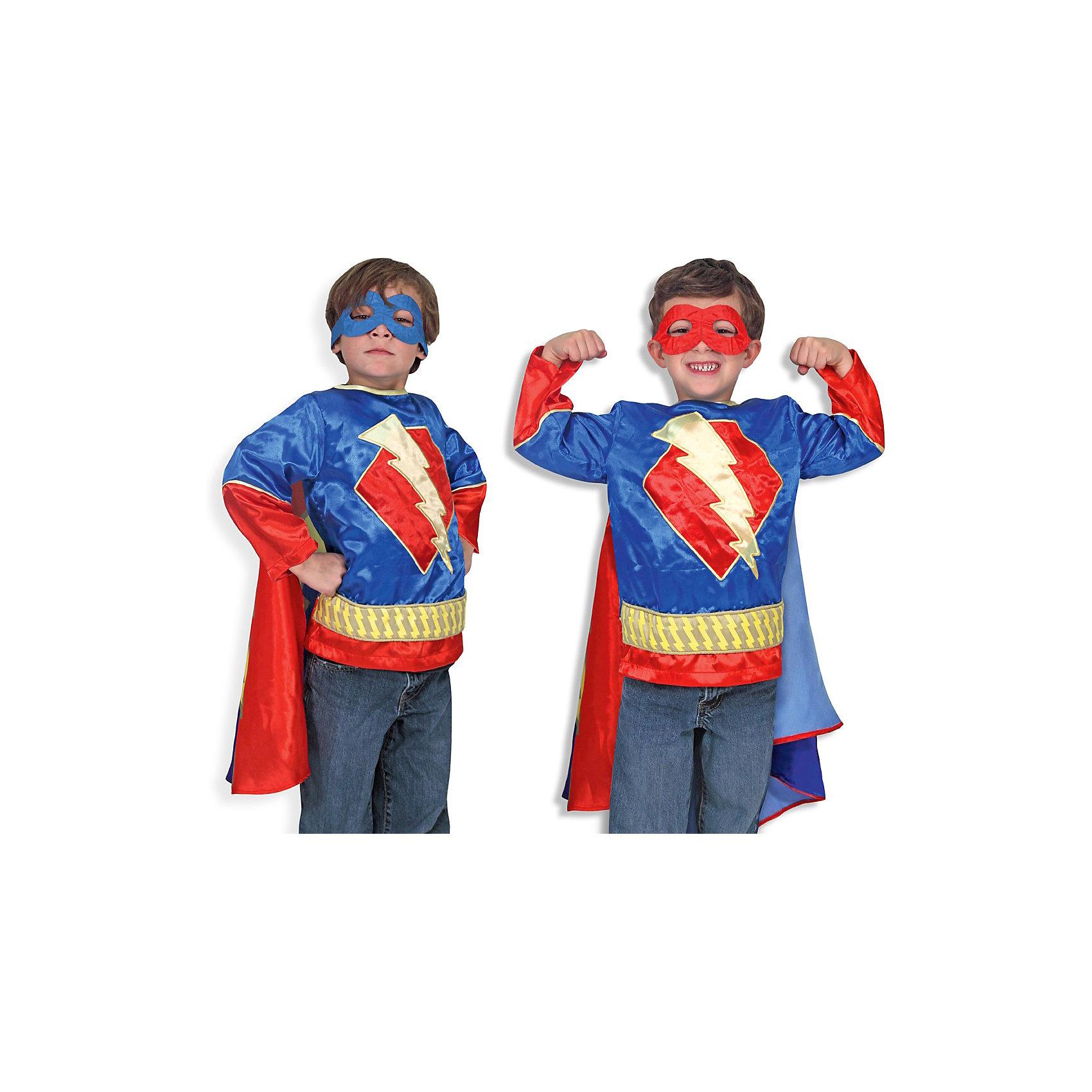 Карнавальный костюм  Супер-Герой, Melissa &amp; DougДети обожают комиксы и перевоплощения! Подарите Вашему мальчику карнавальный костюм Супер-Герой, Melissa &amp; Doug и счастью не будет предела. Пираты и злодеи расступаются, когда на арену выступает Супергерой! Он смотрит на все проблемы через двуцветную полумаску и приходит на помощь всем слабым. При этом за ним так красиво развевается сине - полосатый плащ.  Карнавальный костюм Супер-Герой прекрасно подойдет  для мальчика 3-6 лет. Он будет хитом утренника в саду, новогодней вечеринки и забавной фотосессии. Подарите ребенку часы безграничной фантазии и суперсилы в костюме Супер-Герой, Melissa &amp; Doug !<br><br>Дополнительная информация:<br><br>- Карнавальный костюм для мальчика;<br>- В комплекте: маска, блузка с плащом;<br>- Отлично подойдет для праздников, карнавалов, вечеринок;<br>- Необычный костюм;<br>- Красочный дизайн;<br>- Размер упаковки: 45 х 1 х 70 см;<br>- Вес: 589 г<br><br>Карнавальный костюм Супер-Герой, Melissa &amp; Doug  можно купить в нашем интернет-магазине.<br><br>Ширина мм: 450<br>Глубина мм: 10<br>Высота мм: 700<br>Вес г: 589<br>Возраст от месяцев: 36<br>Возраст до месяцев: 72<br>Пол: Мужской<br>Возраст: Детский<br>SKU: 3861964
