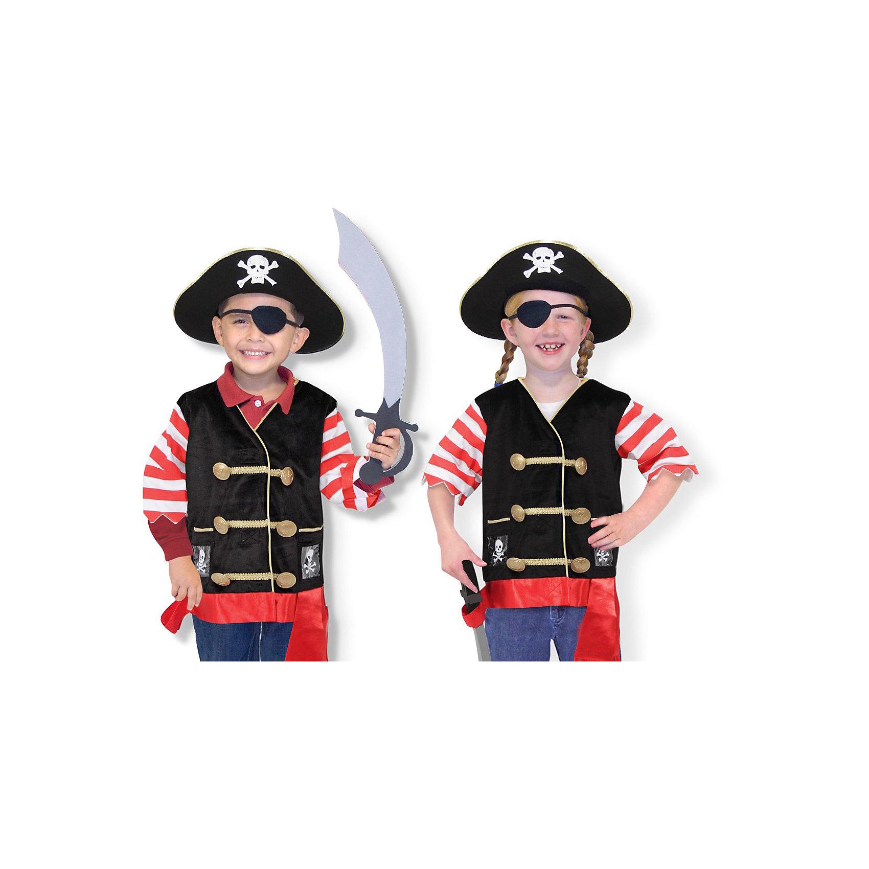 Карнавальный костюм  Пират, Melissa &amp; DougДети обожают мультфильмы и перевоплощения! Подарите Вашему ребенку карнавальный костюм Пират, Melissa &amp; Doug и счастью не будет предела. Моряки и злодеи расступаются, когда на арену выступает Пират! Он смотрит на мир, как и положено пирату, одним глазом, но всегда готов к захватывающим приключениям. Его сабля острая, а пиратская шляпа внушает ужас капитанам торговых судов.  Карнавальный костюм Пират прекрасно подойдет  для ребенка 3-6 лет. Он будет хитом утренника в саду, новогодней вечеринки и забавной фотосессии. Подарите ребенку часы безграничной фантазии и суперсилы в костюме Пират, Melissa &amp; Doug !<br><br>Дополнительная информация:<br><br>- Карнавальный костюм для мальчика или девочки;<br>- В комплекте: полосатая кофточка, пиратская шляпа, повязка на глаз, бархатный жилет, пояс, сабля;<br>- Отлично подойдет для праздников, карнавалов, вечеринок;<br>- Необычный костюм;<br>- Красочный дизайн;<br>- Размер футболки: ширина: 38 см, длина: 55 см, длина рукава: 22 см;<br>- Размер упаковки: 44 х 5 х 50 см;<br>- Вес: 544 г<br><br>Карнавальный костюм Пират, Melissa &amp; Doug  можно купить в нашем интернет-магазине.<br><br>Ширина мм: 440<br>Глубина мм: 50<br>Высота мм: 500<br>Вес г: 544<br>Возраст от месяцев: 36<br>Возраст до месяцев: 72<br>Пол: Мужской<br>Возраст: Детский<br>SKU: 3861965