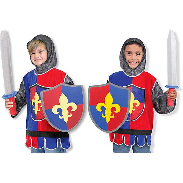 Карнавальный костюм  Рыцарь, Melissa &amp; DougКарнавальные костюмы для мальчиков<br>Дети обожают рассказы про благородных рыцарей и прекрасных дам! Подарите Вашему мальчику карнавальный костюм Рыцарь, Melissa &amp; Doug и счастью не будет предела. Бандиты и злодеи расступаются, когда на арену выступает Рыцарь! Он всегда защитит слабых и победит в турнире. Средневековые детали костюма создают прекрасный антураж и дух прошлого. Туника рыцаря украшена мягкими синими и красными тканями, декорирована средневековым гербом. Карнавальный костюм Рыцарь прекрасно подойдет  для мальчика 3-6 лет. Он будет хитом утренника в саду, новогодней вечеринки и забавной фотосессии. Подарите ребенку часы безграничной фантазии и суперсилы в костюме Рыцарь, Melissa &amp; Doug !<br><br>Дополнительная информация:<br><br>- Карнавальный костюм для мальчика;<br>- В комплекте: кольчуга с капюшоном, туника, меч, щит;<br>- Отлично подойдет для праздников, карнавалов, вечеринок;<br>- Необычный костюм;<br>- Красочный дизайн;<br>- Размер регулируется при помощи липучек;<br>- Размер упаковки: 44 х 2 х 62 см;<br>- Вес: 589 г<br><br>Карнавальный костюм Рыцарь, Melissa &amp; Doug  можно купить в нашем интернет-магазине.<br>Ширина мм: 440; Глубина мм: 20; Высота мм: 620; Вес г: 589; Возраст от месяцев: 36; Возраст до месяцев: 72; Пол: Мужской; Возраст: Детский; SKU: 3861966;
