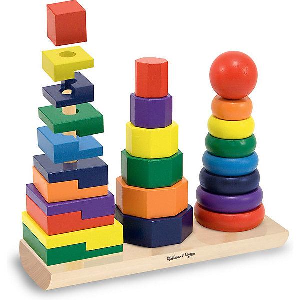 Геометрическая пирамидка, Melissa &amp; DougРазвивающие игрушки<br>Новое воплощение традиционной развивающей игрушки, которая обязательно увлечет Вашего малыша - красочная геометрическая пирамидка, Melissa &amp; Doug. На одном основании целых три стержня с деталями разной формы и размера. Деревянная пирамидка сделана с особой тщательностью. Экологически безопасный и приятный живой материал хорошо обработан и окрашен нетоксичными красителями. Сначала просто перебирая, затем надевая колечки, восьмиугольники и кубики причудливой формы на соответствующие стержни, подбирая их по размеру, цвету или форме малыш на практике изучит понятия больше-меньше, выучит цвета и формы. Играя, малыш тренирует мелкую моторику, внимательность, логическое мышление. Играйте и наслаждайтесь вместе с  Melissa &amp; Doug!<br><br>Дополнительная информация:<br><br>- Три пирамидки на одном основании;<br>- Потрясающие подарок для малышей;<br>- Отличный тренажер мелкой моторики;<br>- Красочный дизайн;<br>- Материал: натуральное дерево, безопасная краска;<br>- Размер упаковки: 29 х 9 х 22 см;<br>- Вес: 1,17 кг<br><br>Геометрическую пирамидку, Melissa &amp; Doug  можно купить в нашем интернет-магазине.<br>Ширина мм: 290; Глубина мм: 90; Высота мм: 220; Вес г: 1178; Возраст от месяцев: 24; Возраст до месяцев: 48; Пол: Унисекс; Возраст: Детский; SKU: 3861967;