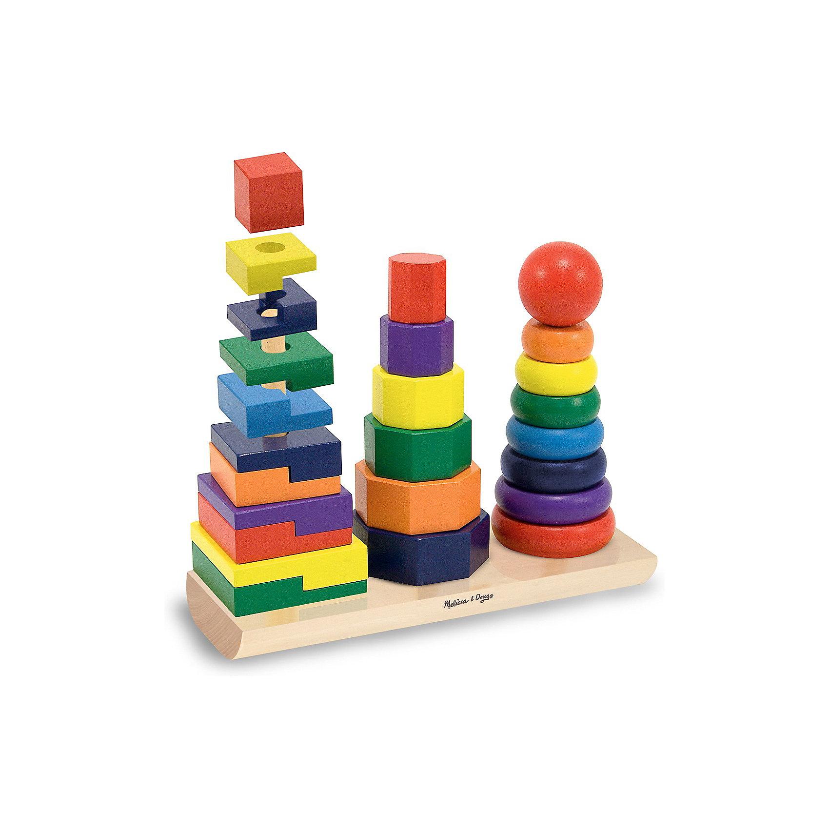 Геометрическая пирамидка, Melissa &amp; DougПирамидки<br>Новое воплощение традиционной развивающей игрушки, которая обязательно увлечет Вашего малыша - красочная геометрическая пирамидка, Melissa &amp; Doug. На одном основании целых три стержня с деталями разной формы и размера. Деревянная пирамидка сделана с особой тщательностью. Экологически безопасный и приятный живой материал хорошо обработан и окрашен нетоксичными красителями. Сначала просто перебирая, затем надевая колечки, восьмиугольники и кубики причудливой формы на соответствующие стержни, подбирая их по размеру, цвету или форме малыш на практике изучит понятия больше-меньше, выучит цвета и формы. Играя, малыш тренирует мелкую моторику, внимательность, логическое мышление. Играйте и наслаждайтесь вместе с  Melissa &amp; Doug!<br><br>Дополнительная информация:<br><br>- Три пирамидки на одном основании;<br>- Потрясающие подарок для малышей;<br>- Отличный тренажер мелкой моторики;<br>- Красочный дизайн;<br>- Материал: натуральное дерево, безопасная краска;<br>- Размер упаковки: 29 х 9 х 22 см;<br>- Вес: 1,17 кг<br><br>Геометрическую пирамидку, Melissa &amp; Doug  можно купить в нашем интернет-магазине.<br><br>Ширина мм: 290<br>Глубина мм: 90<br>Высота мм: 220<br>Вес г: 1178<br>Возраст от месяцев: 24<br>Возраст до месяцев: 48<br>Пол: Унисекс<br>Возраст: Детский<br>SKU: 3861967