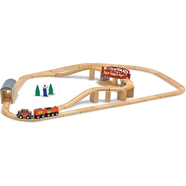 Дорога с вращающимся мостом, Melissa &amp; DougИдеи подарков<br>Какой ребенок не мечтает о железной дороге! С деревянным набором Дорога с вращающимся мостом от Melissa &amp; Doug Вы сможете воплотить мечту Вашего малыша в реальность. В наборе целых 45 элементов, куда входят поезд, состоящий из 3-х частей, нисходящие и восходящие рельсы с опорами, крытый мост и, самое главное, вращающийся мост, у которого есть автоматические открывающиеся и закрывающиеся ворота. Ваш малыш совершит много незабываемых поездок, когда соберет замечательную деревянную дорогу. Надежные крепления секций не дают путям сдвигаться в процессе игры. Что очень важно, никакого дыма, запаха, оглушающих звуков. Этот полностью натуральный, экологически чистый набор станет первой железной дорогой Вашего ребенка, ведь использовать его можно даже самым маленьким. Играйте и наслаждайтесь вместе с  Melissa &amp; Doug!<br><br>Дополнительная информация:<br><br>- Деревянная железная дорога (сборная, 45 элементов) с поездом и мостом;<br>- Паровоз и вагоны соединяются магнитными сцепками; <br>- Железнодорожные пути совместимы с другими популярными деревянными железными дорогами;<br>- Потрясающие подарок для малышей;<br>- Материал: натуральное дерево, безопасная краска;<br>- Размер упаковки: 57 х 13 х 34 см;<br>- Вес: 3 кг<br><br>Дорогу с вращающимся мостом, Melissa &amp; Doug  можно купить в нашем интернет-магазине.<br><br>Ширина мм: 570<br>Глубина мм: 130<br>Высота мм: 340<br>Вес г: 3080<br>Возраст от месяцев: 36<br>Возраст до месяцев: 72<br>Пол: Унисекс<br>Возраст: Детский<br>SKU: 3861970